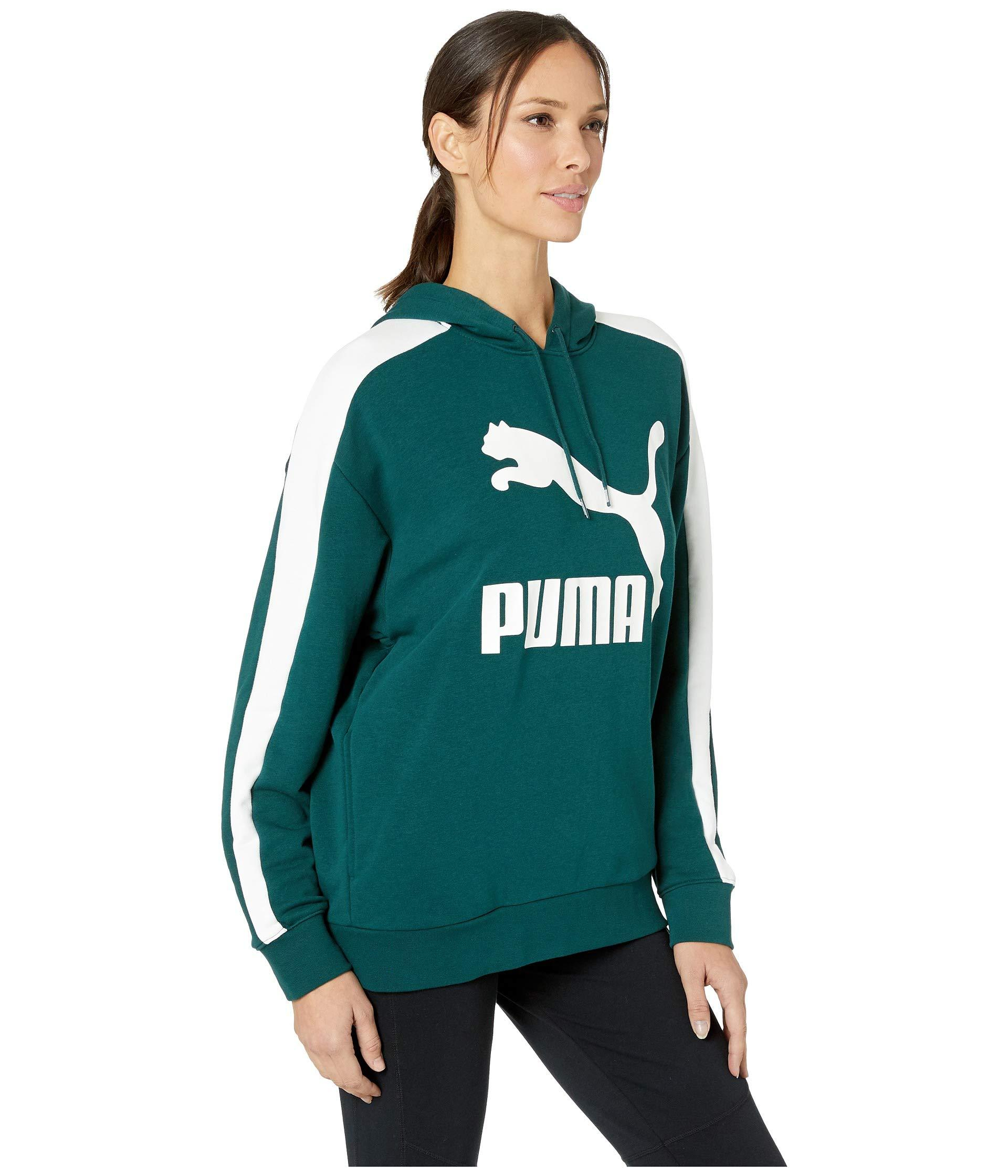 b2d428ca4061 PUMA - Green Classics Logo T7 Hoodie (cotton Black metal) Women s Sweatshirt  -. View fullscreen
