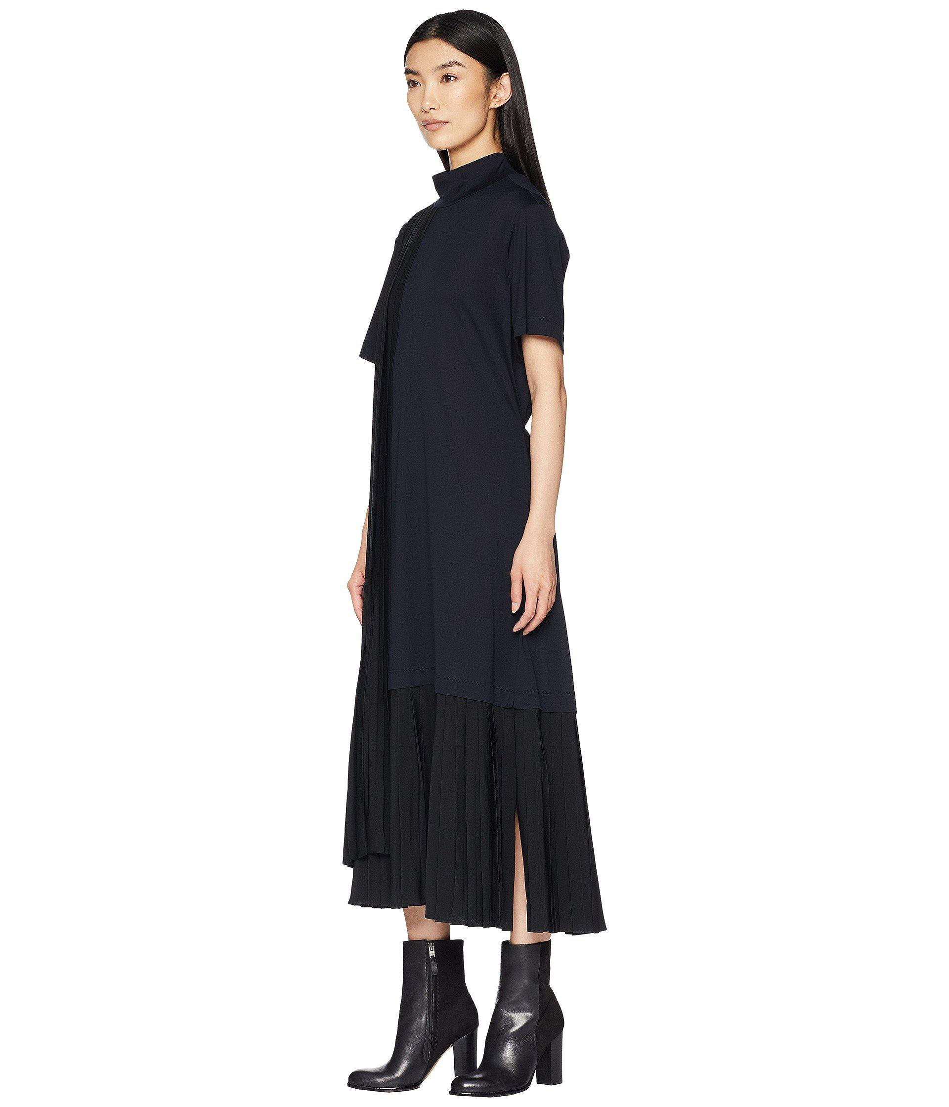 cc660898550e7 Jil Sander Navy Short Sleeve Dress Turtleneck And Plisst Details (navy) Women's  Dress in Blue - Lyst