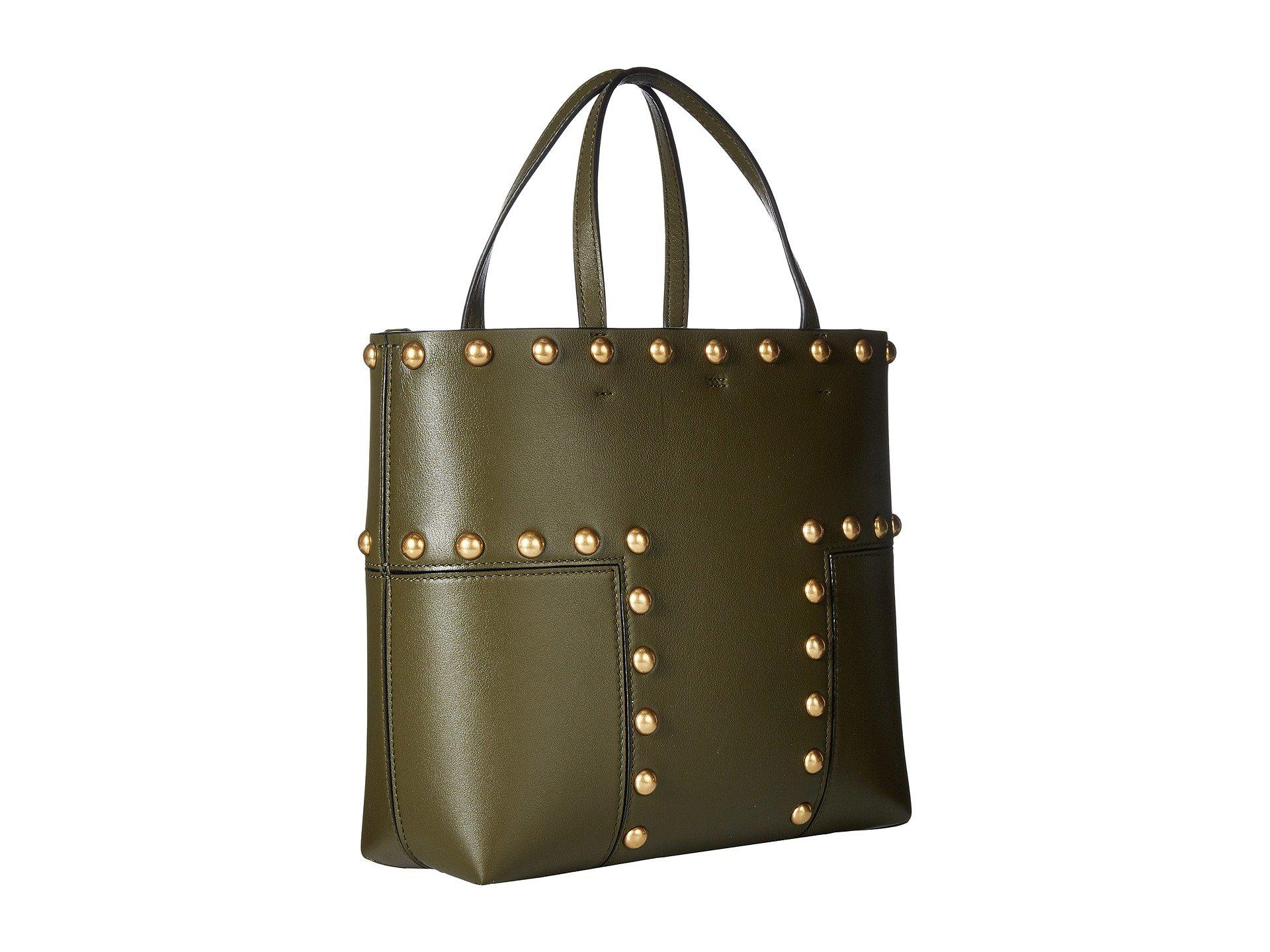 9ada115069b Lyst - Tory Burch Block-t Stud Mini Tote in Green