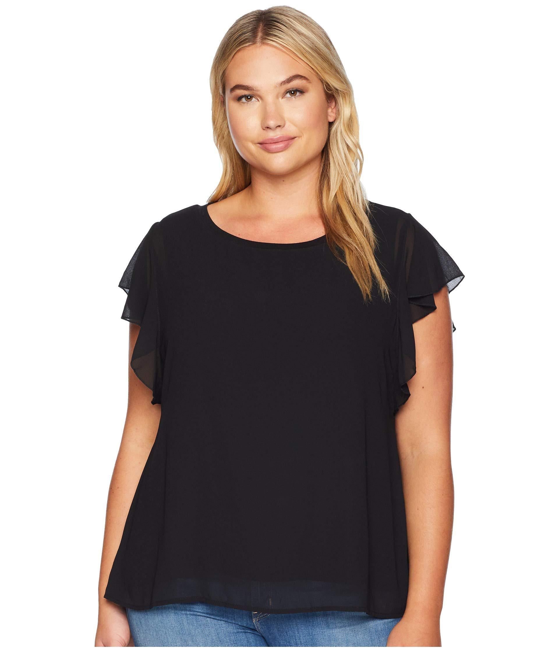 e53fb80985f31 B Collection By Bobeau. Plus Size Haley Flutter Mixed Media Top (black) Women s  Clothing