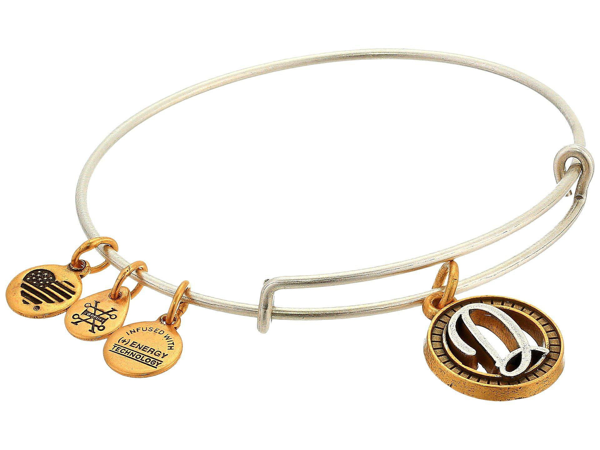 317ec5576d9 ALEX AND ANI. Women's Metallic Initial D Charm Bangle (two-tone) Bracelet