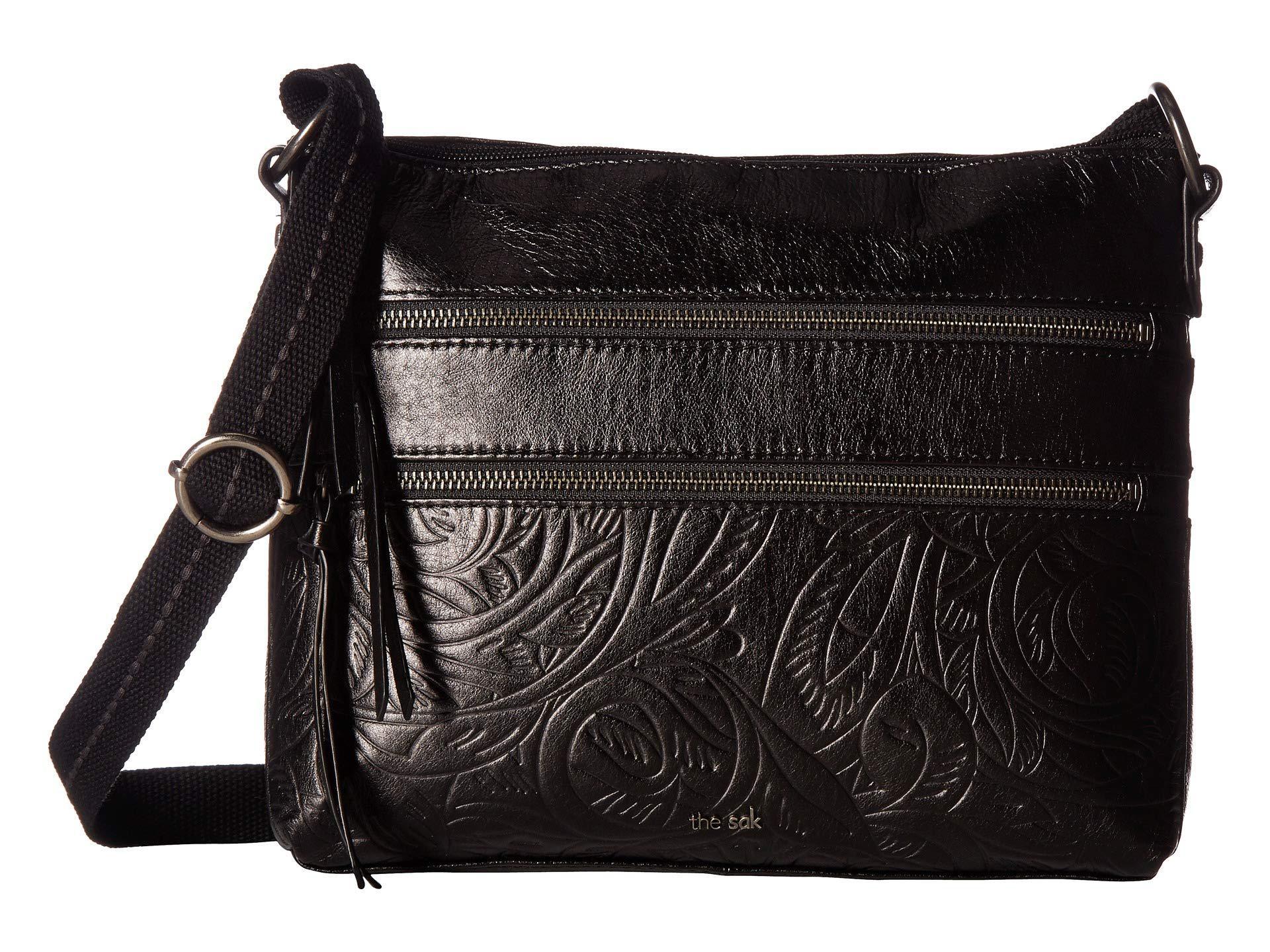 The Sak Women S Reseda Leather Crossbody Black Leaf Cross Body Handbags