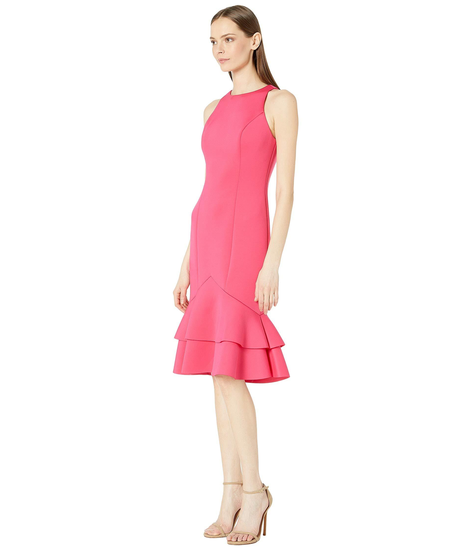 3177f24bc8bd4 Lyst - Badgley Mischka Two Tier Scuba (watermelon) Women's Dress in Pink