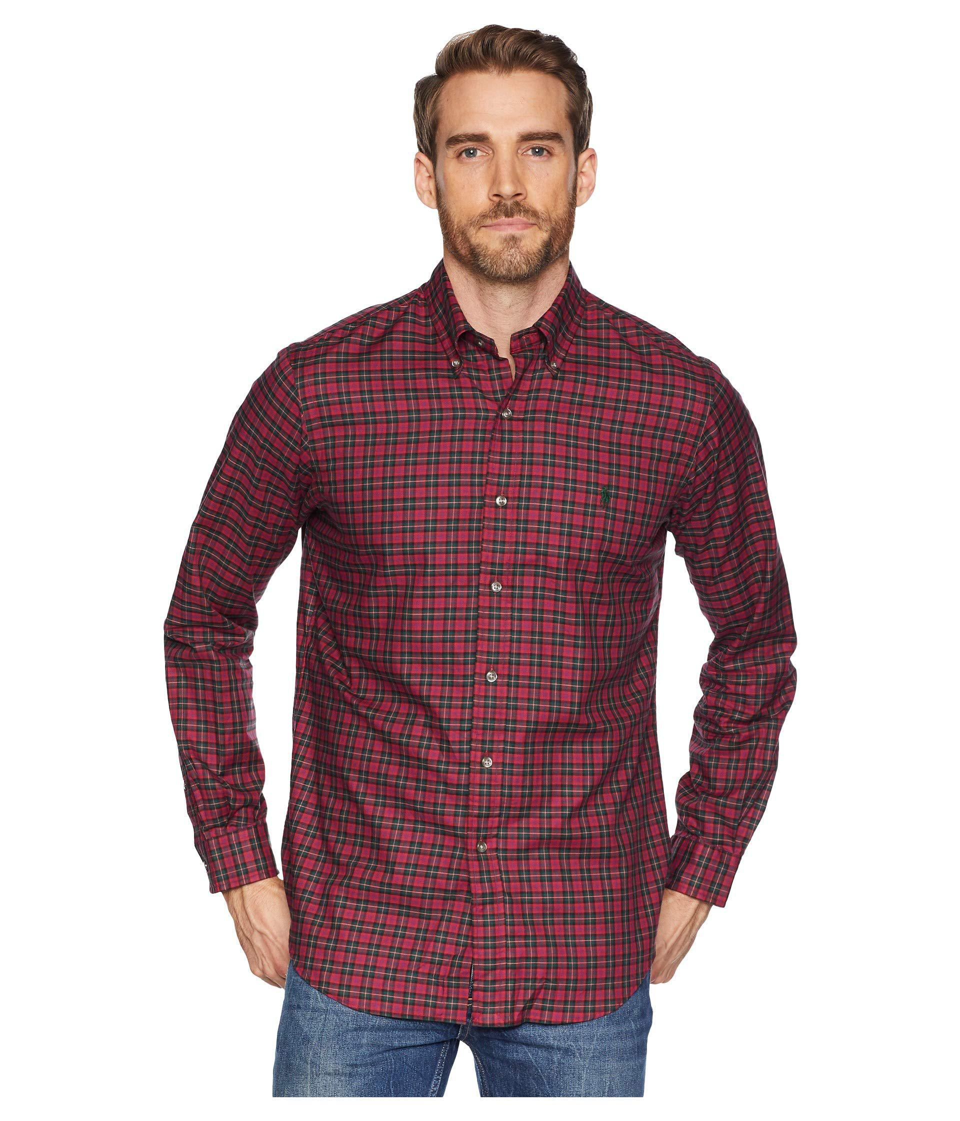 cc861b3b clearance lyst polo ralph lauren slim fit large check shirt in red ...