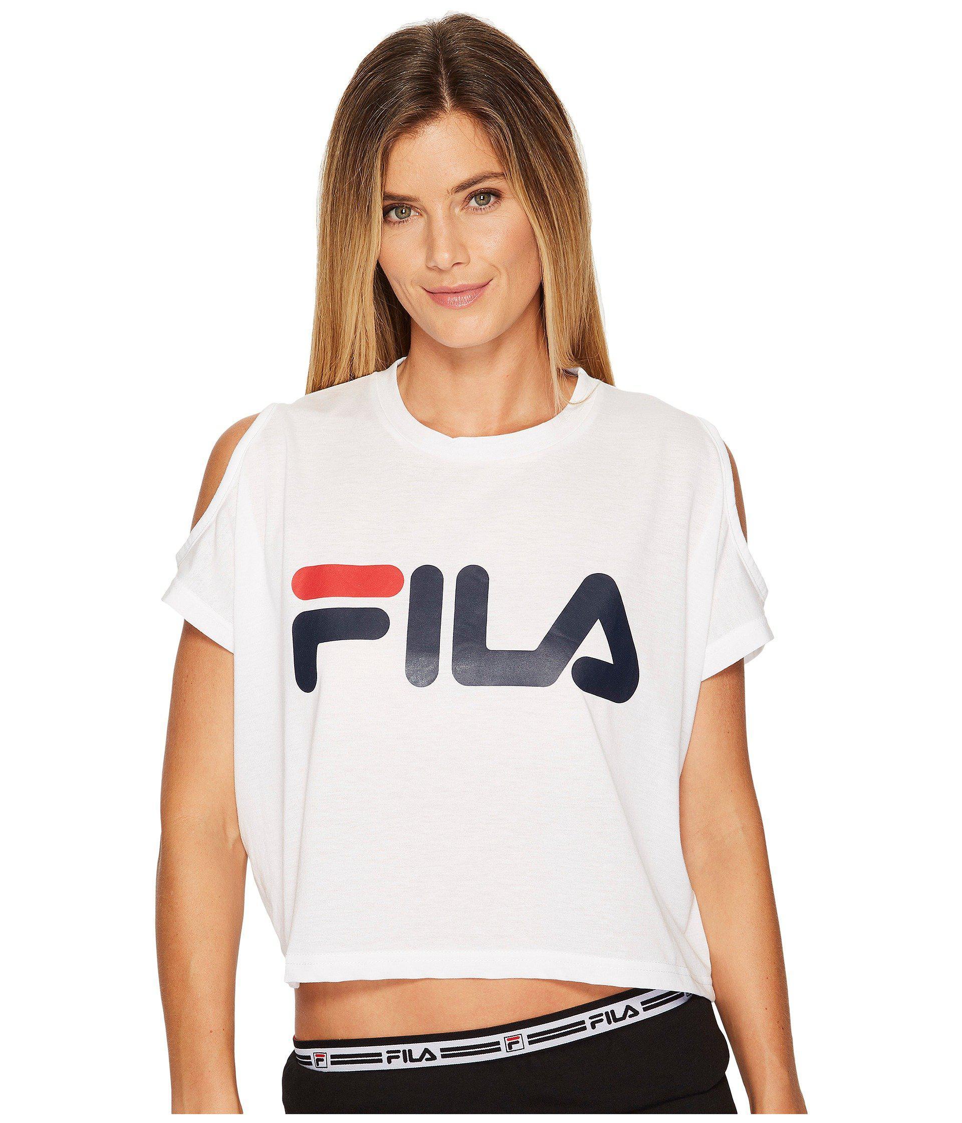 7226ea3f76fa2c Lyst - Fila Nikki Crop Cold Shoulder Top in White