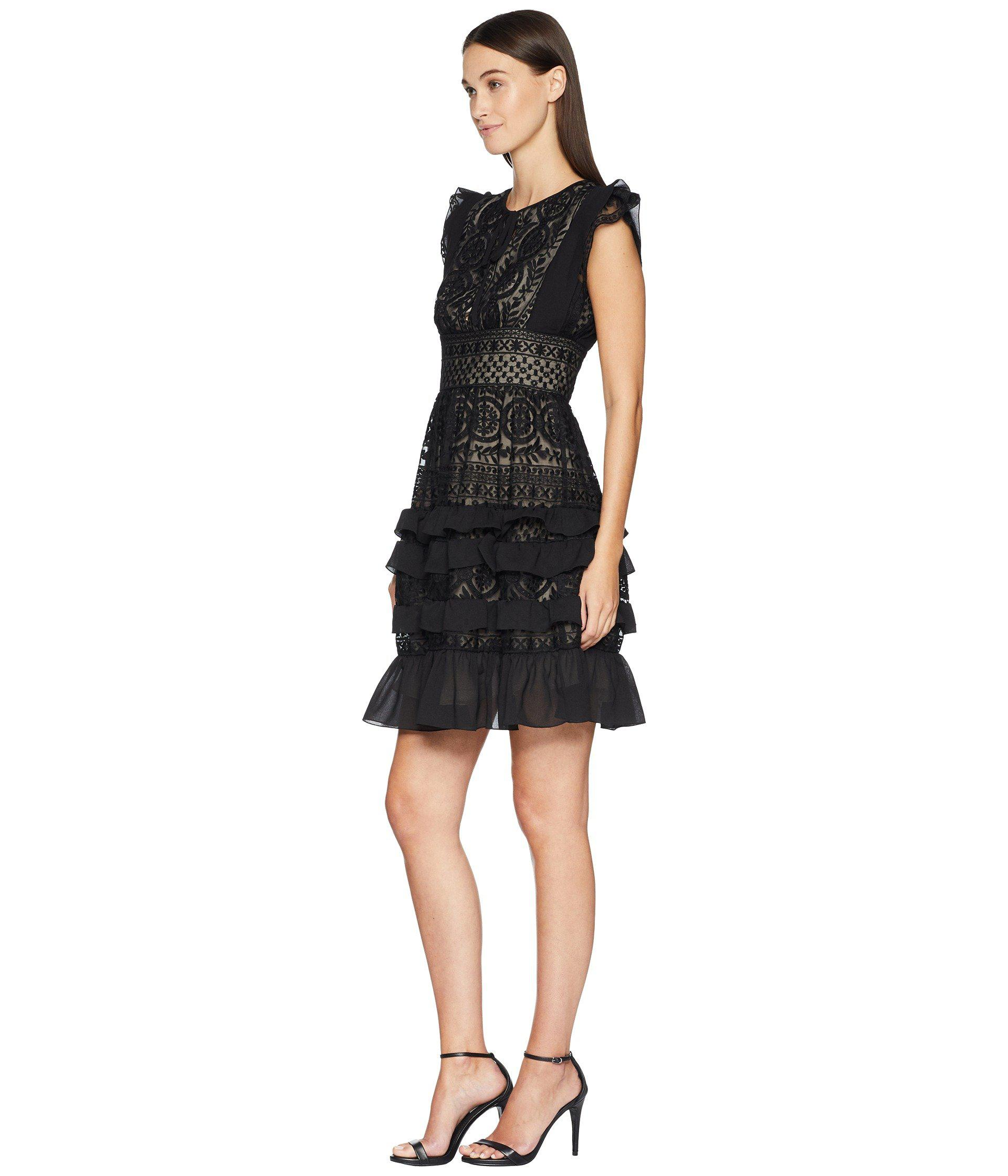 4dcf96c79db Lyst - ML Monique Lhuillier Dress With Keyhole Detail And Skirt Ruffle ( black) Women s Dress in Black