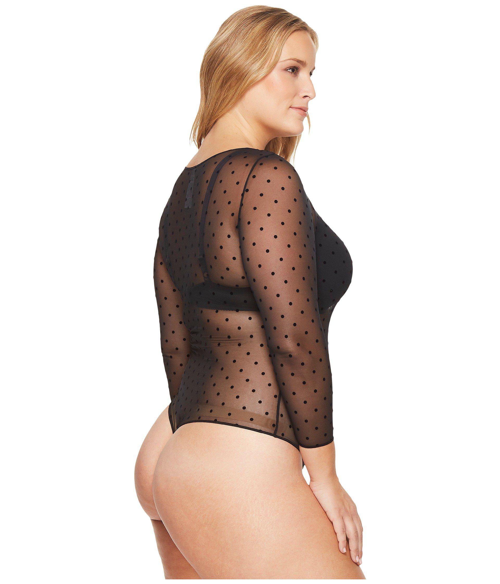 25838a51fd Spanx - Multicolor Plus Size Sheer Fashion Mesh Thong Bodysuit (flocked  Dot) Women s Jumpsuit. View fullscreen