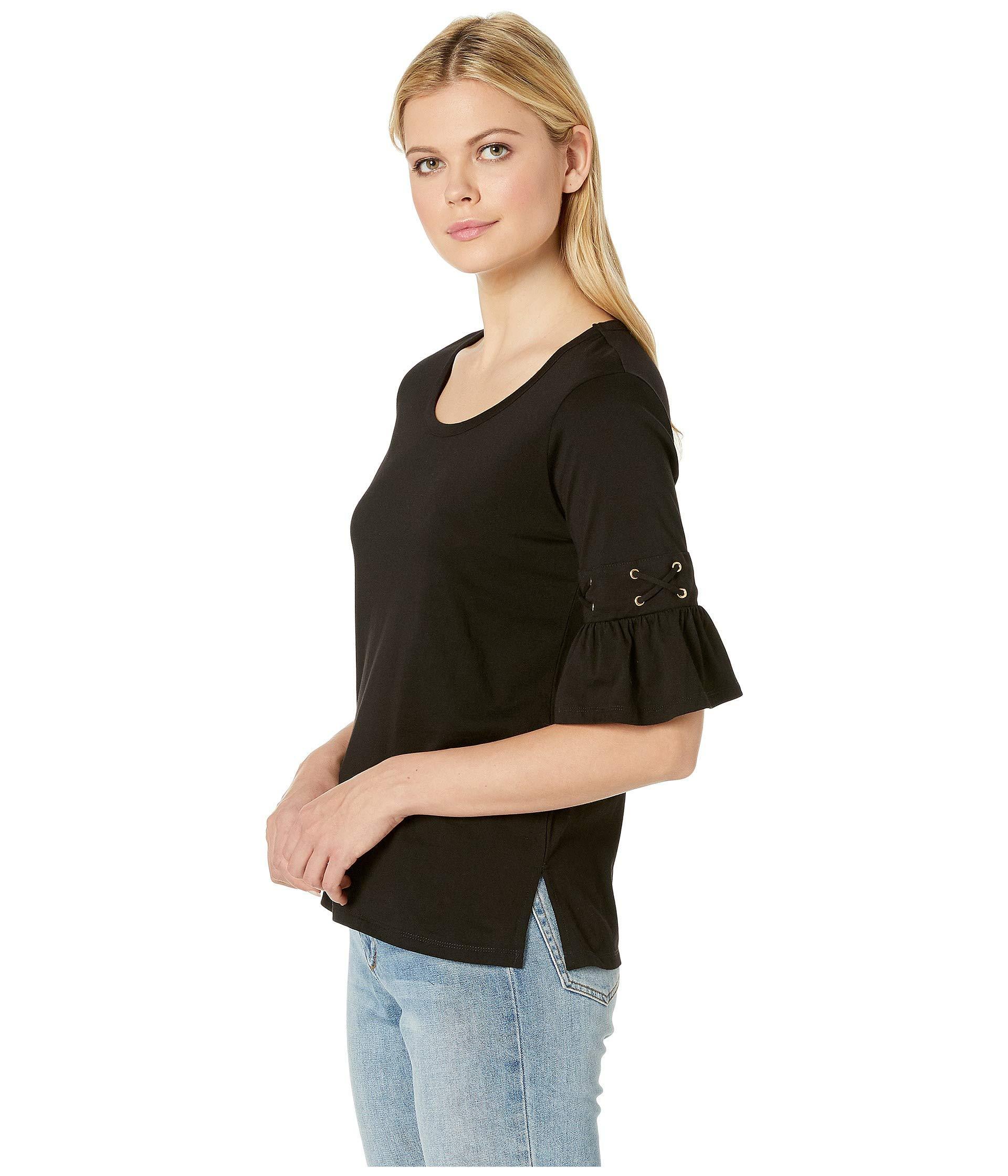 0f2d80230de11 Lyst - MICHAEL Michael Kors Laced Sleeve Flare Tee (black) Women s T Shirt  in Black