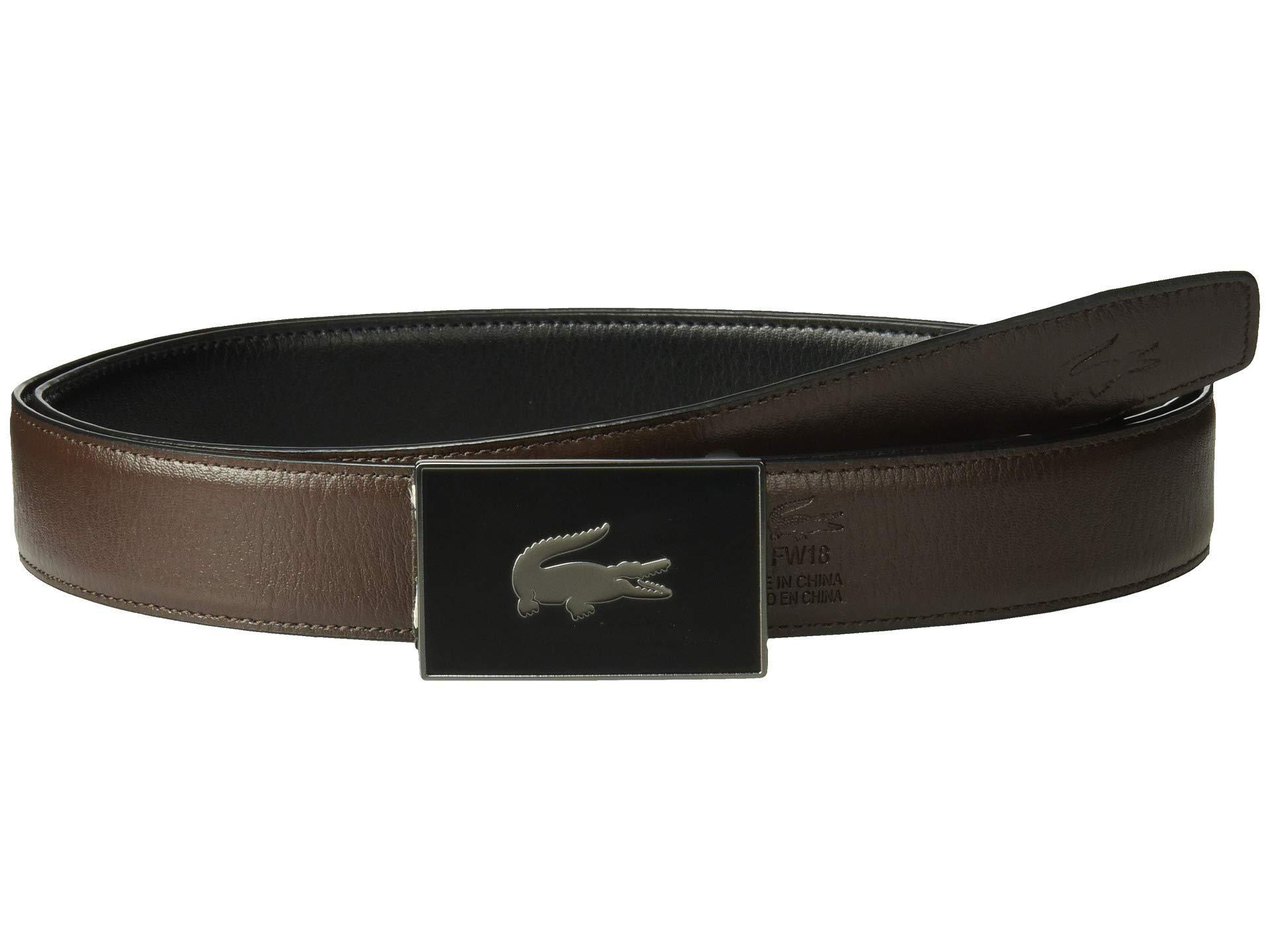 1476f3db5b Lyst - Lacoste Classic Textured Leather Belt (black/brown) Men's ...