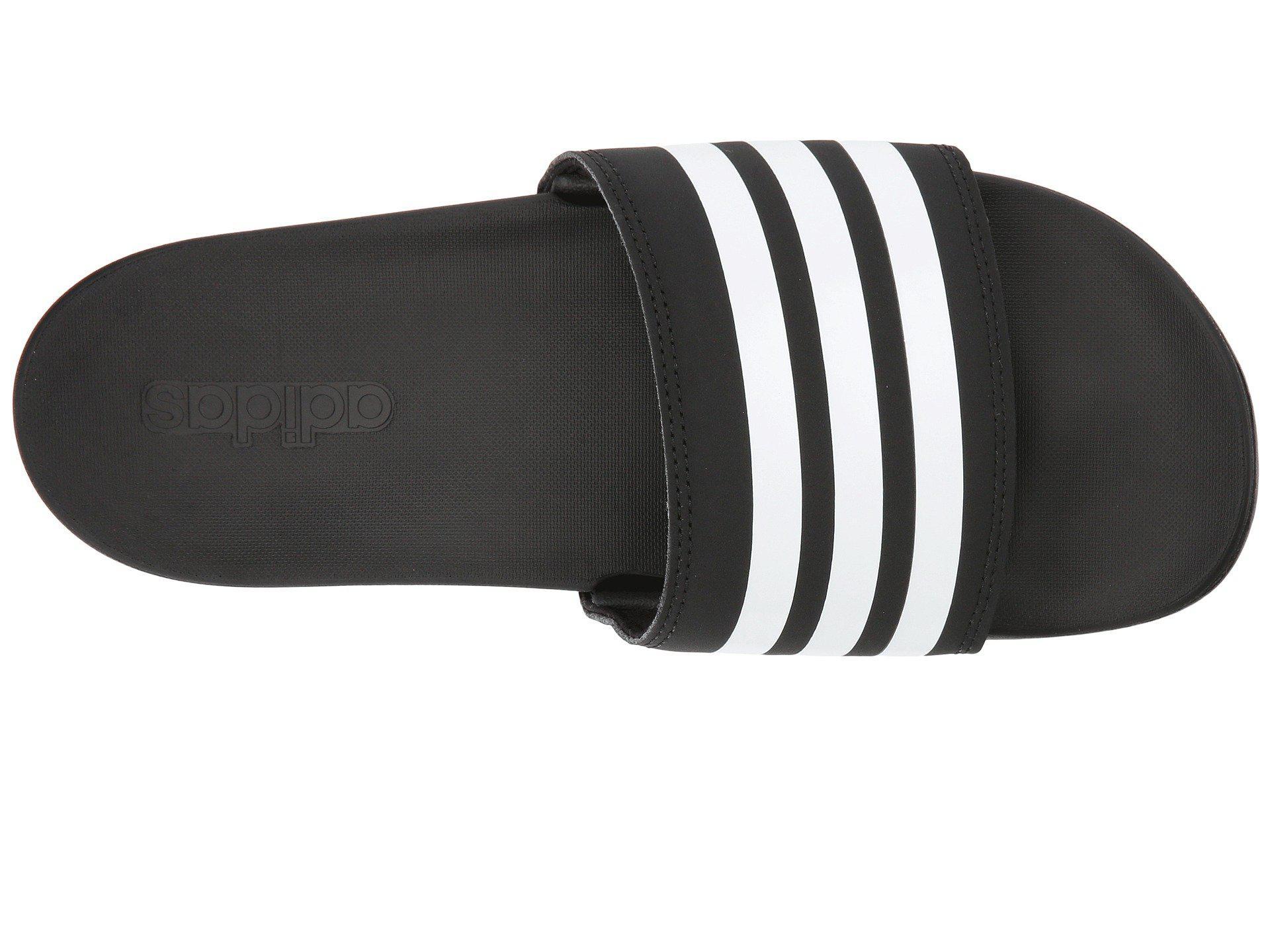 huge discount 47834 67b3a Adidas - Black Adilette Cloudfoam Plus Stripes Slides - Lyst. View  fullscreen