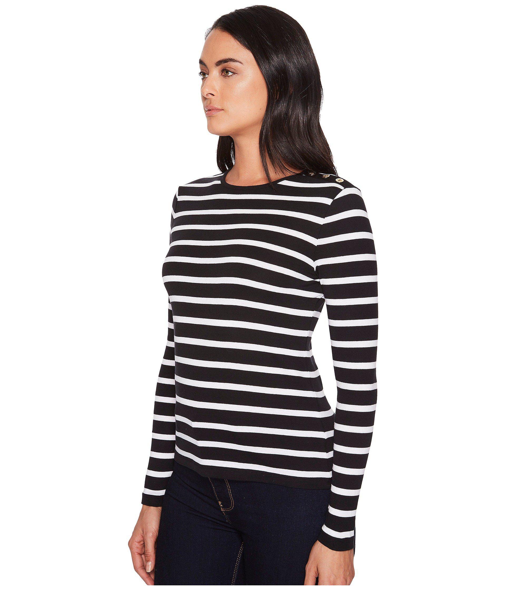 453544b0 Lauren by Ralph Lauren - Striped Button-shoulder Top (black/white) Women's.  View fullscreen