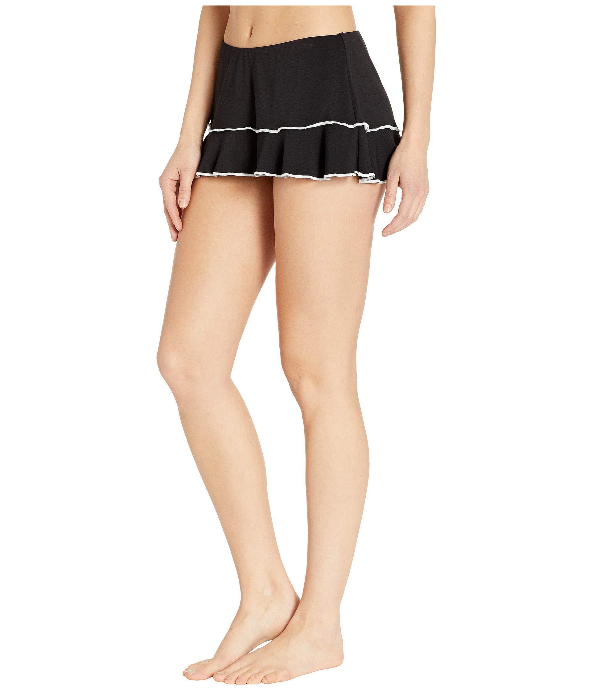 939eb2e874307 Lyst - Robin Piccone Malia Ruffle Skirted Bottoms (black white) Women s  Swimwear in Black