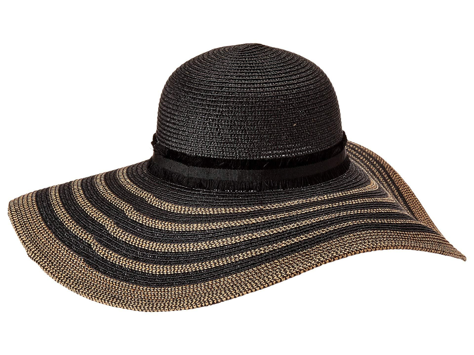 3f0397446 Lyst - Steve Madden Maled Braid Wide Brim Floppy Hat (black/tan ...