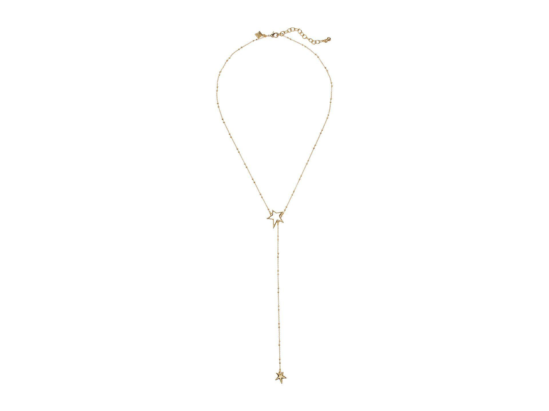 Rebecca Minkoff Heart Lariat Necklace in Metallic Gold