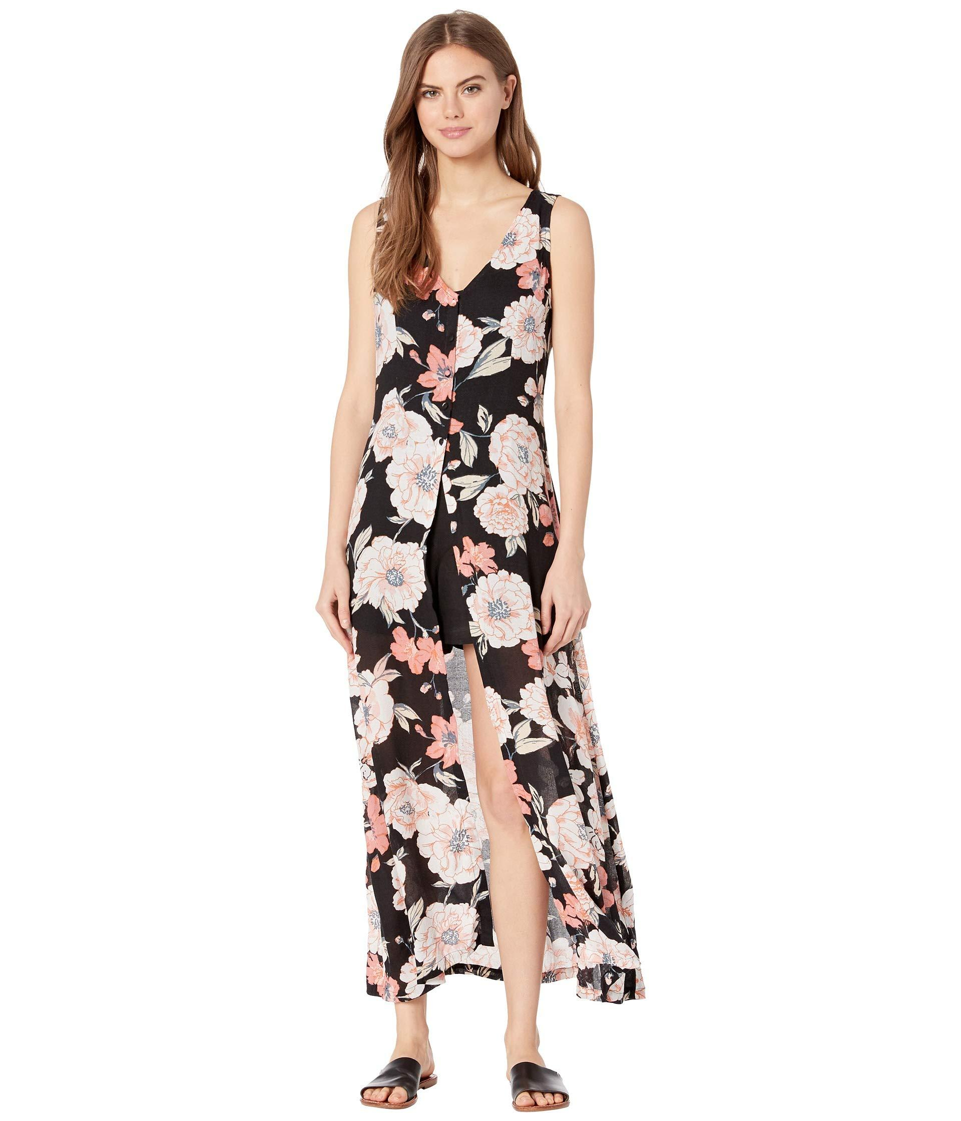 85f4c265024 Roxy Flowers Crown Maxi Overlay Romper (anthracite New Flowers ...