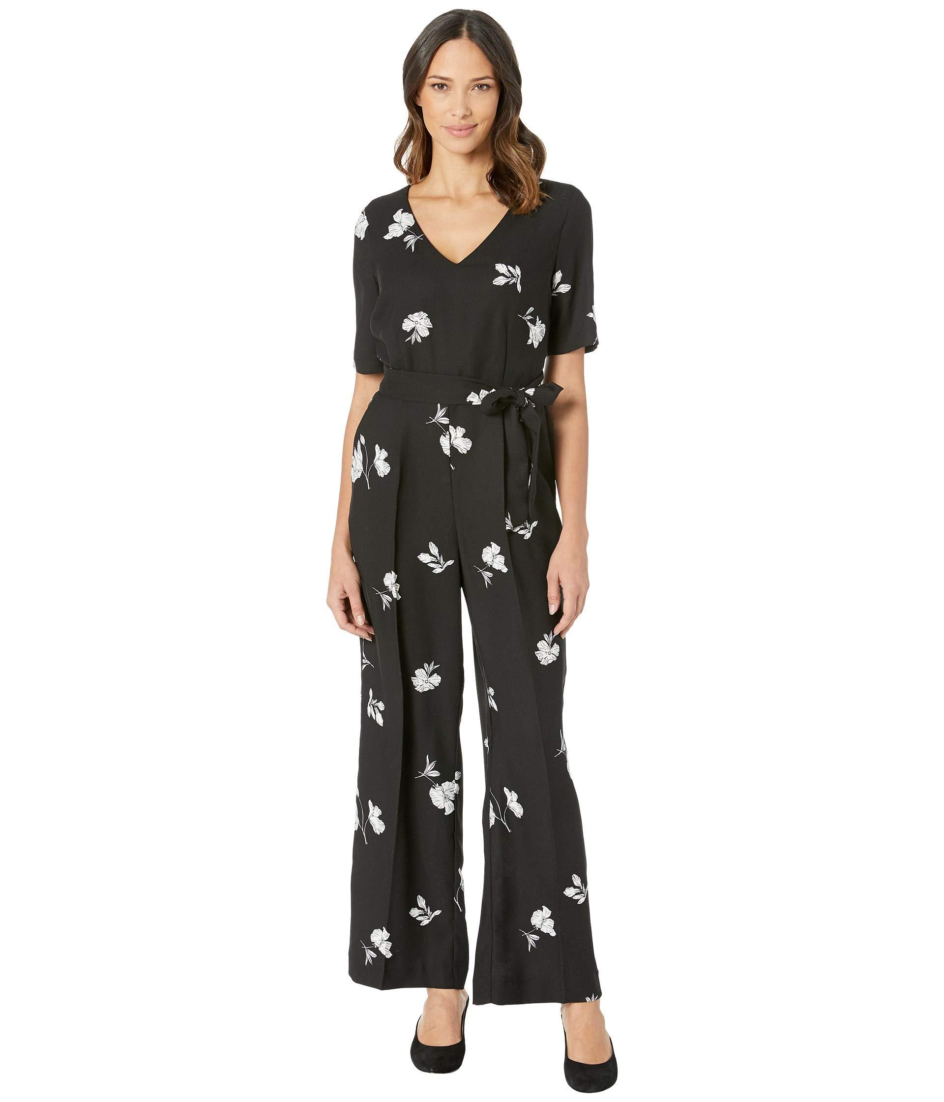 9dd5f2960202 Lyst - Vince Camuto Elbow Sleeve Tossed Flowers V-neck Jumpsuit ...