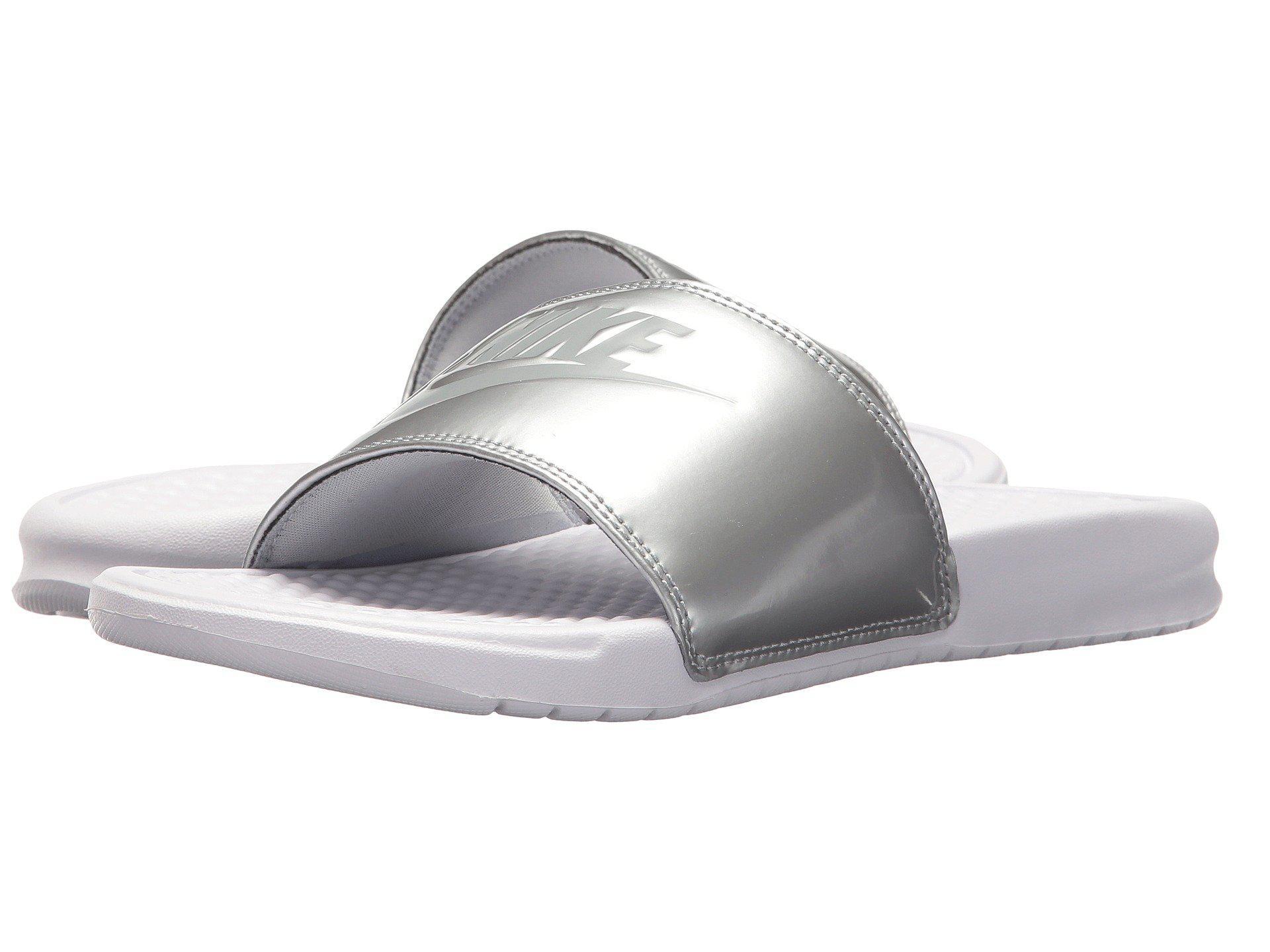 quality design 3cccb 95d37 Nike. Benassi Jdi Slide (white-metallic Silver) Women s Sandals
