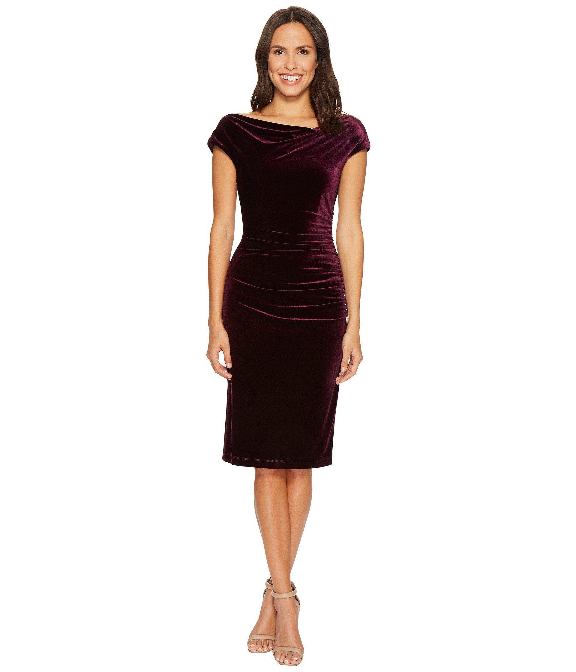 9cd28823ce Vince Camuto Velvet Bodycon Dress W  Ruching Crossbody - Lyst