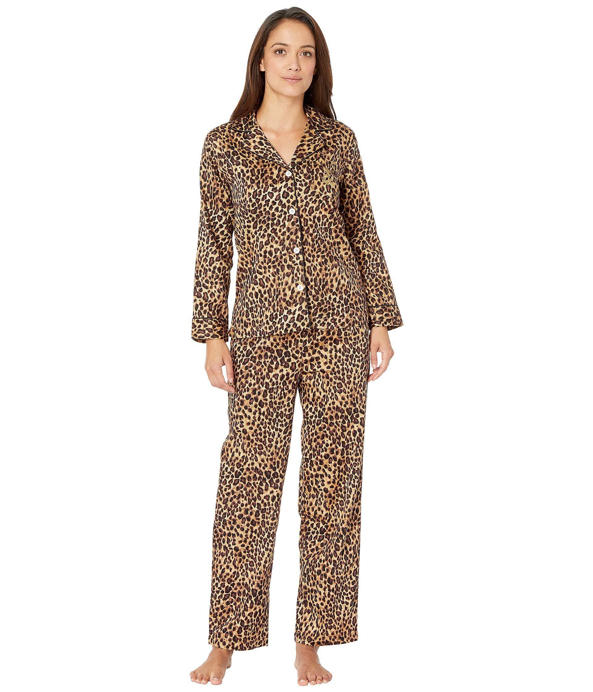 632c1c1b07 Lauren by Ralph Lauren. Brown Petite Sateen Long Sleeve Classic Notch  Collar Pajama Set (ivory Floral Print) ...