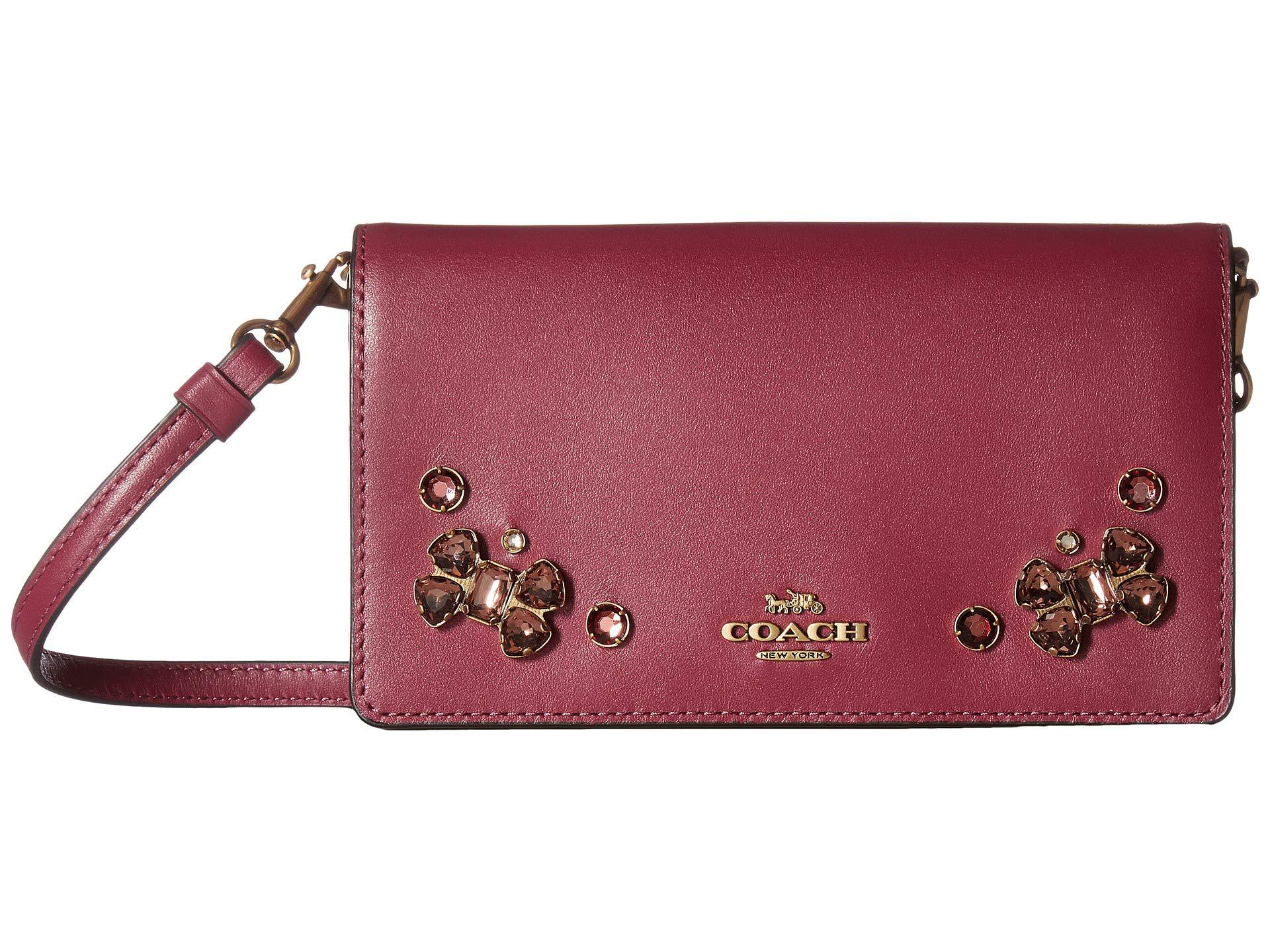 Lyst coach crystal applique slim phone crossbody b dark berry