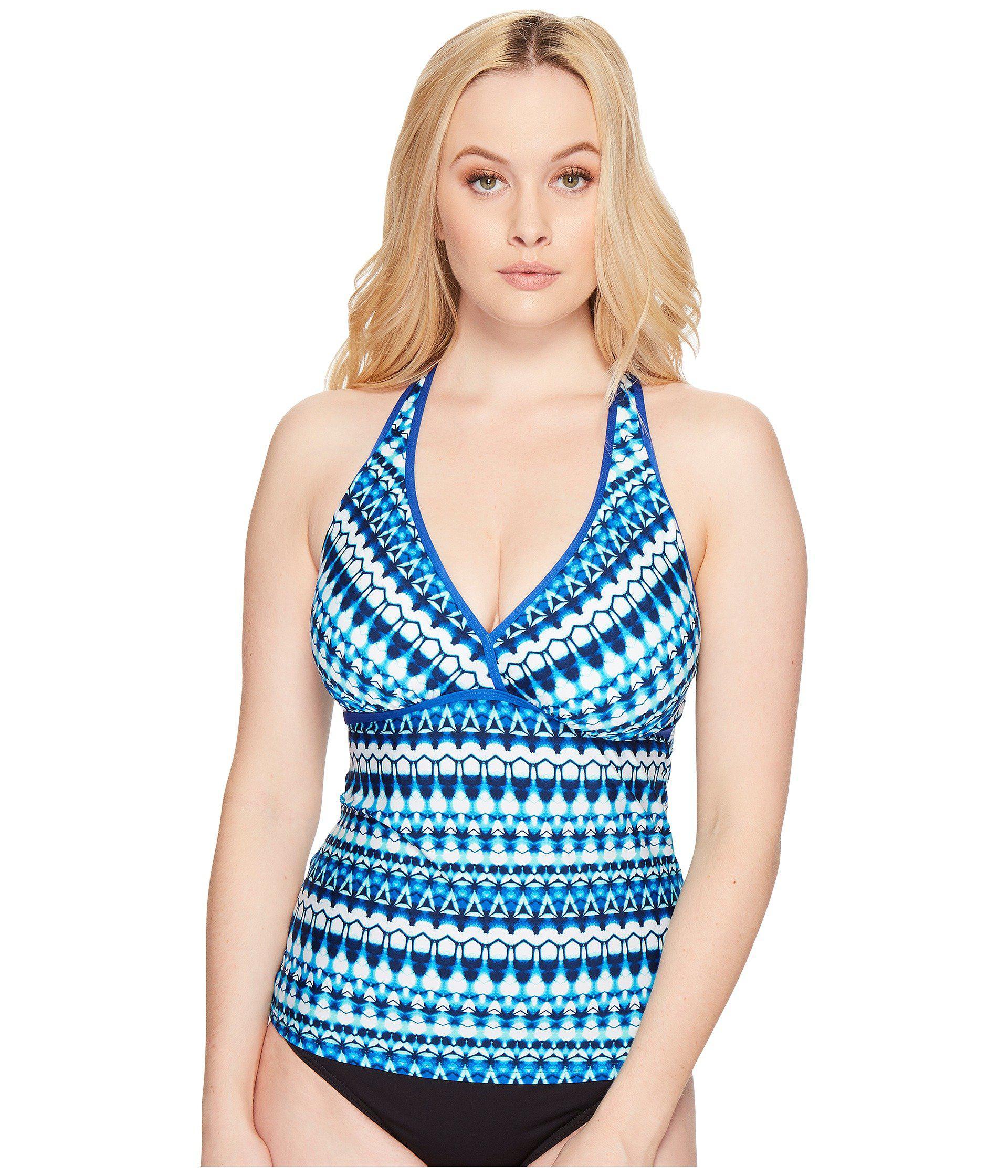ffc185260aa4b Lyst - Jantzen Tie-dye Geo Stripe D/dd H-back Tankini Top in Blue