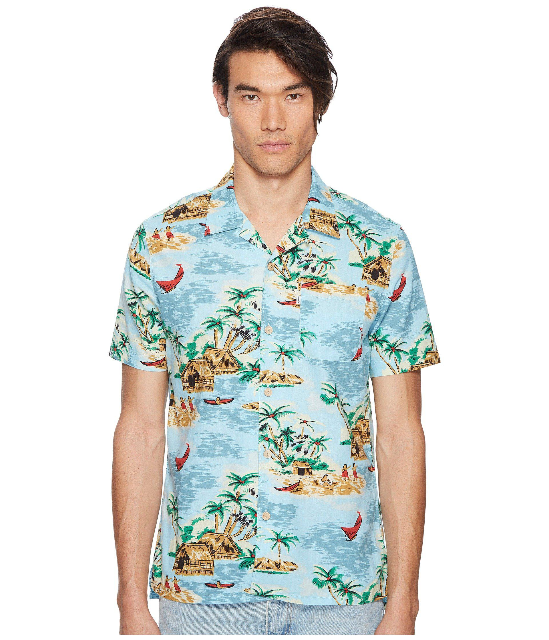 3cae8791 Levi's Premium Premium Short Sleeve Linen Hawaiian Shirt in Blue for ...