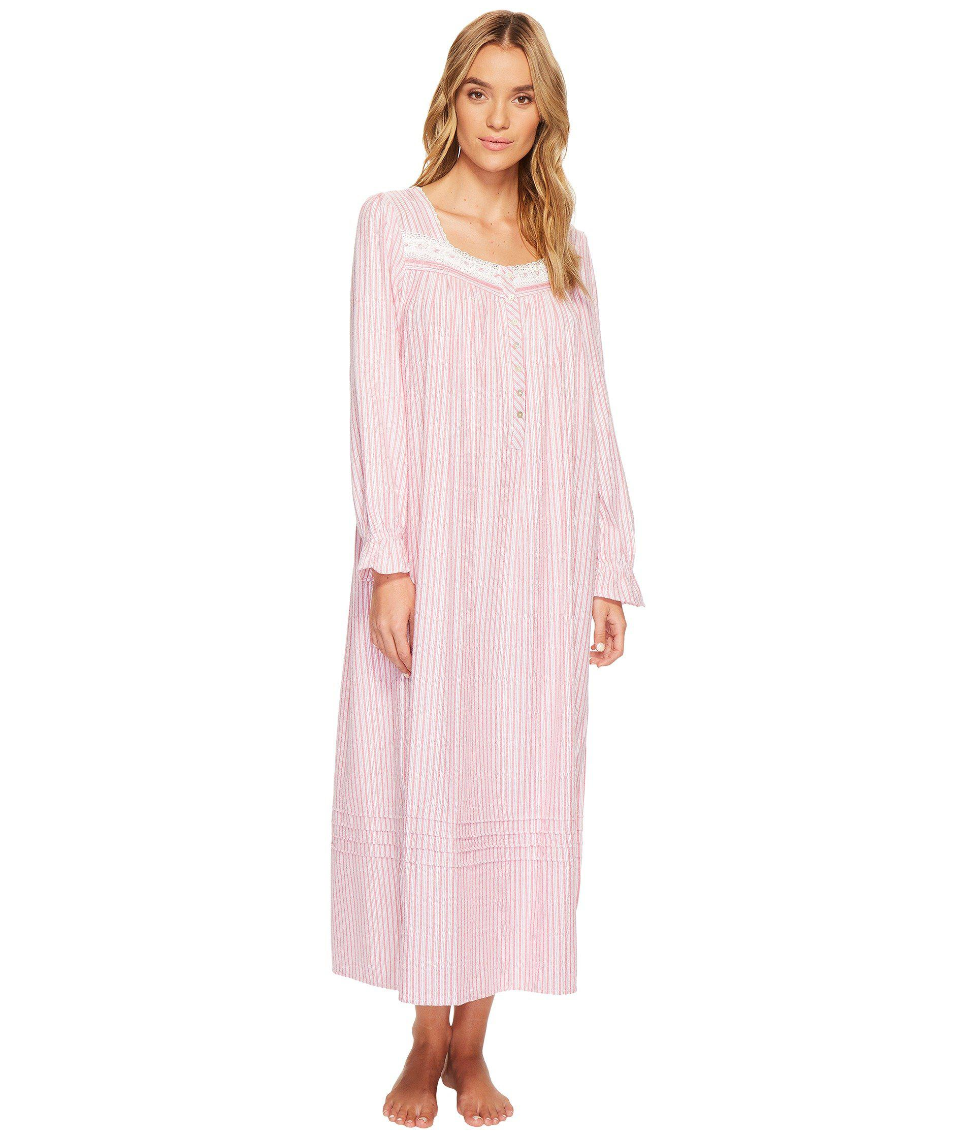 54d764ab6f Lyst - Eileen West Flannel Ballet Long Sleeve Nightgown in Pink