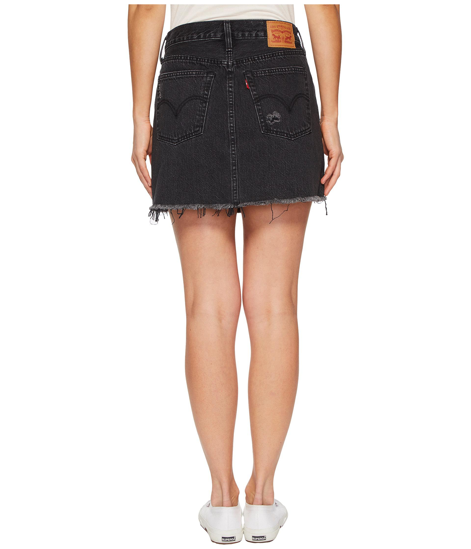 d0b2caaba Levi's Premium Deconstructed Skirt in Black - Lyst