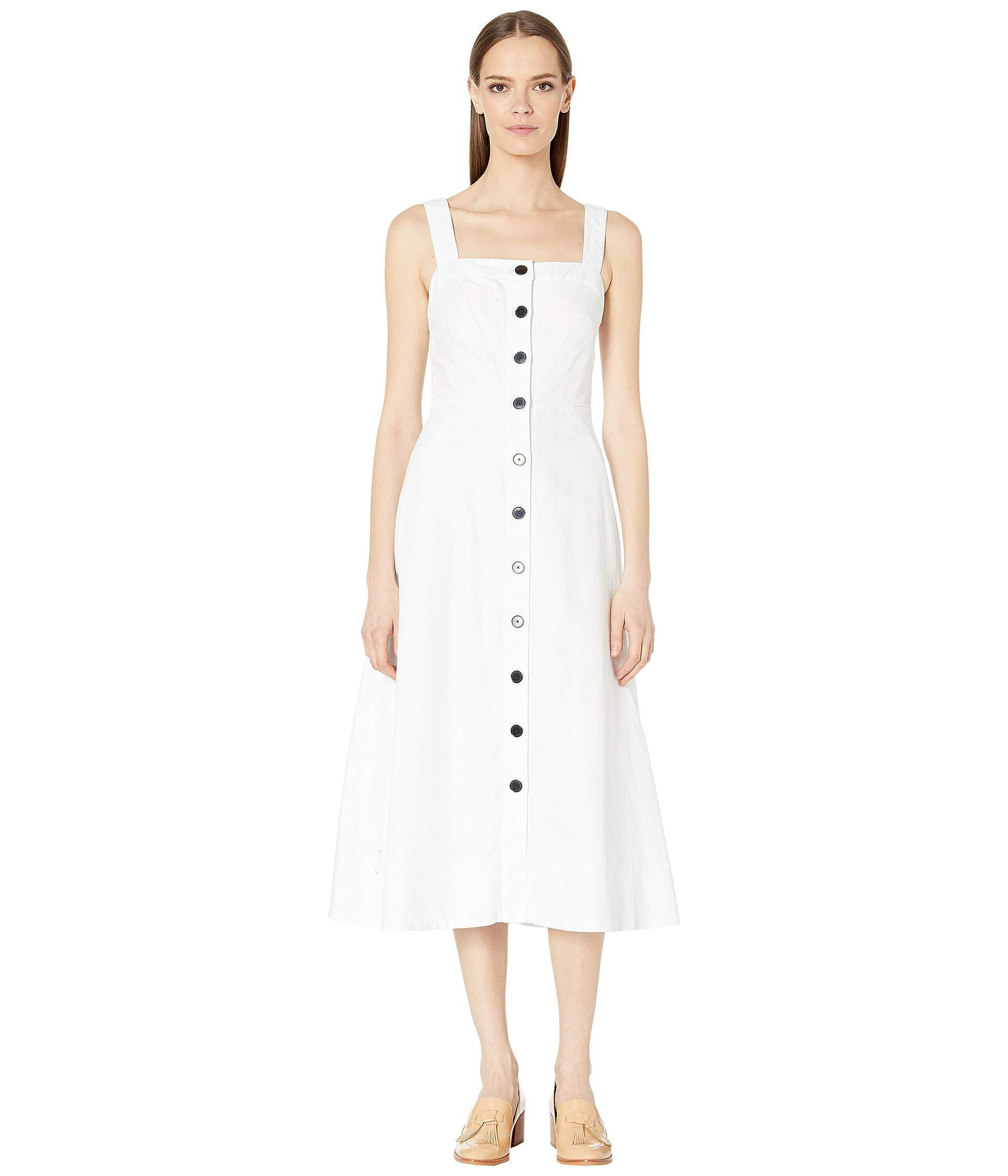 Kate Spade Linen Button Front Midi Dress in White - Lyst
