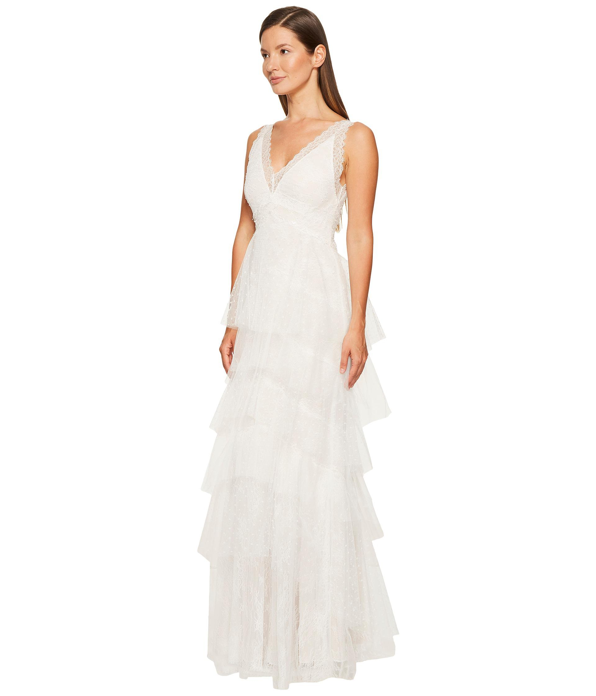 47d77cac48 Marchesa notte Lace Gown W/ Tiered Point-d'esprit And Tulle Skirt in ...