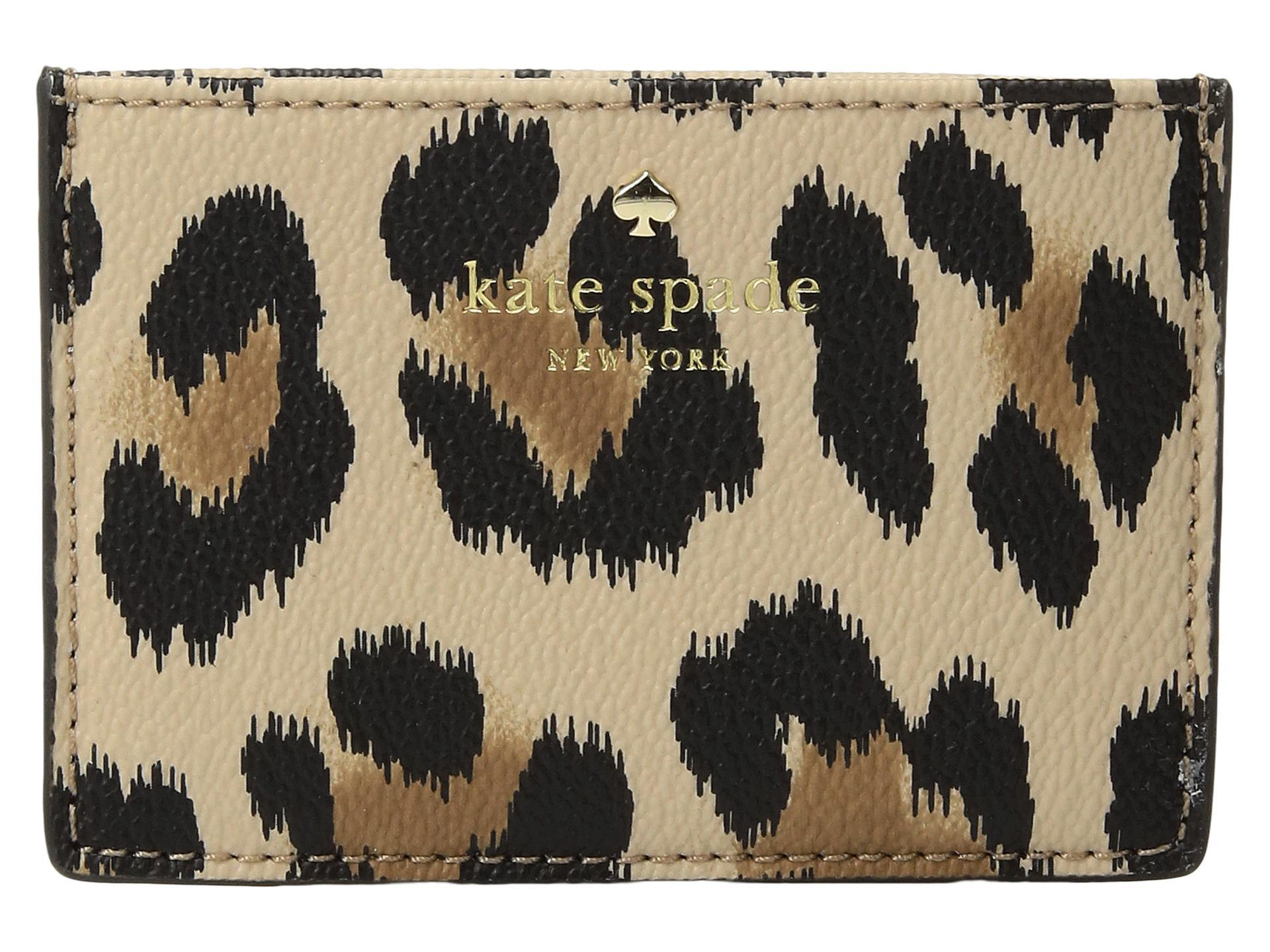 release date 9418f 8de6e Kate Spade Hyde Lane Leopard Card Holder - Lyst