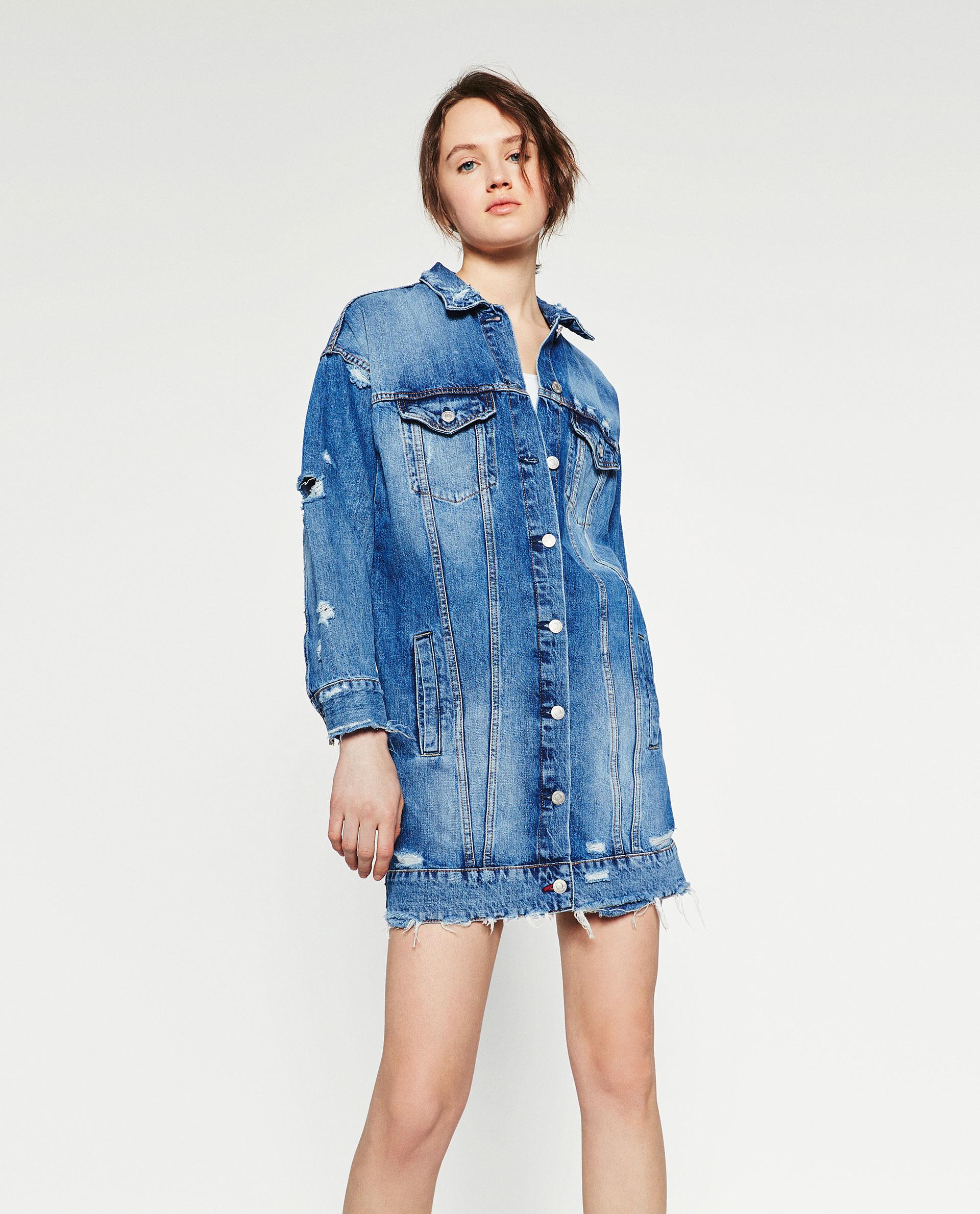 Zara Longline Denim Jacket In Blue | Lyst