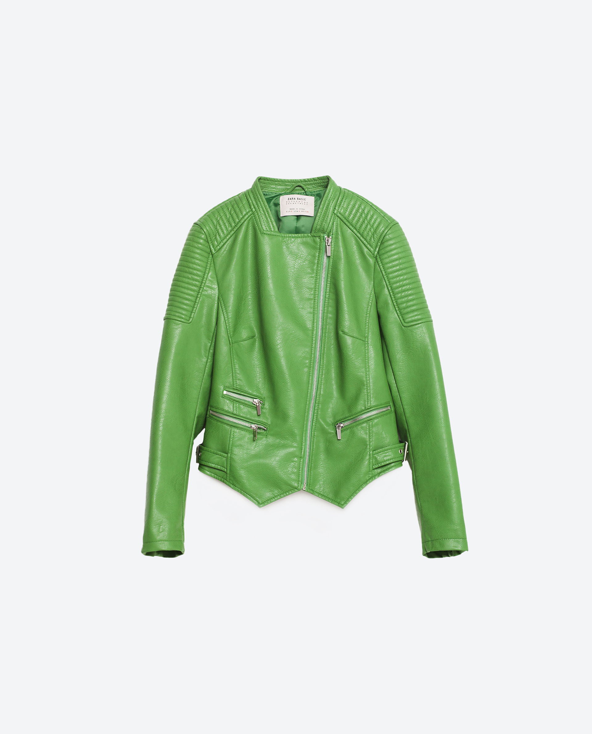 Zara Faux Leather Jacket in Green | Lyst