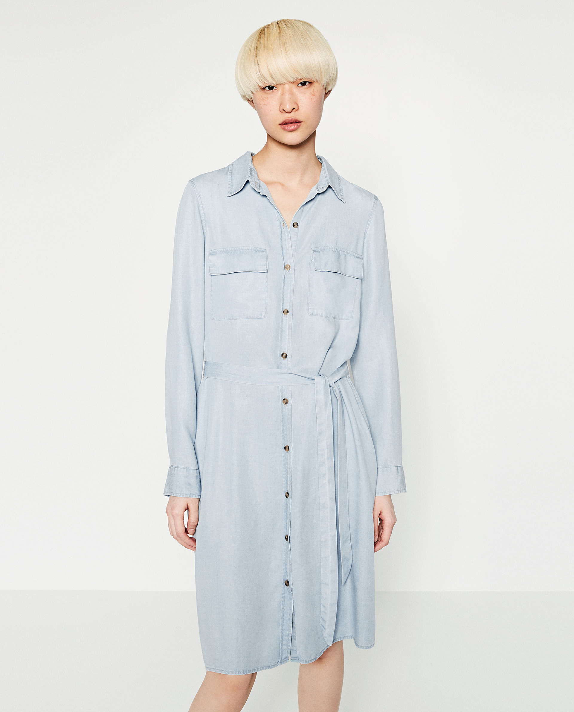 Zara Denim Shirt Dress in Blue