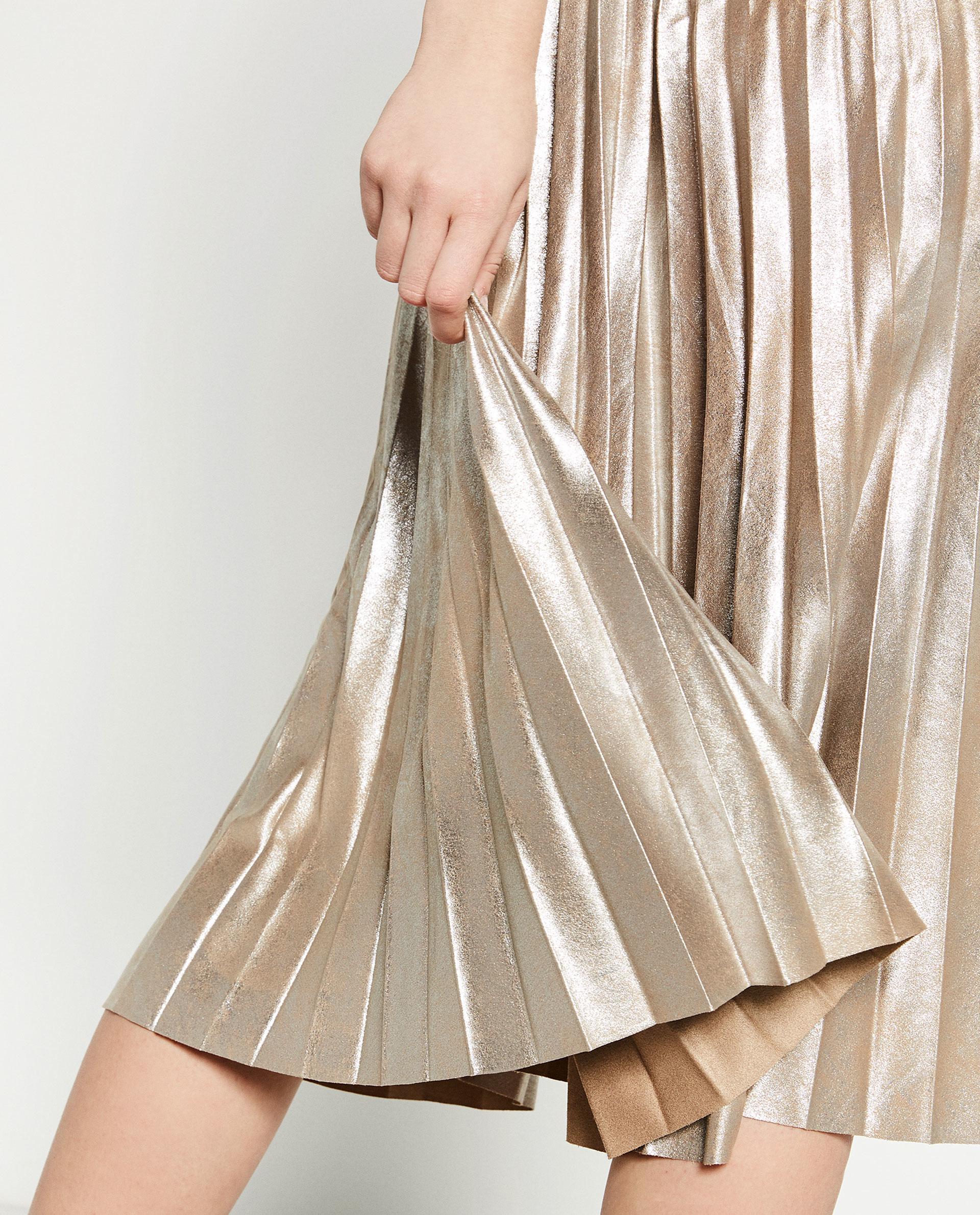 zara finely pleated metallic midi skirt in metallic lyst