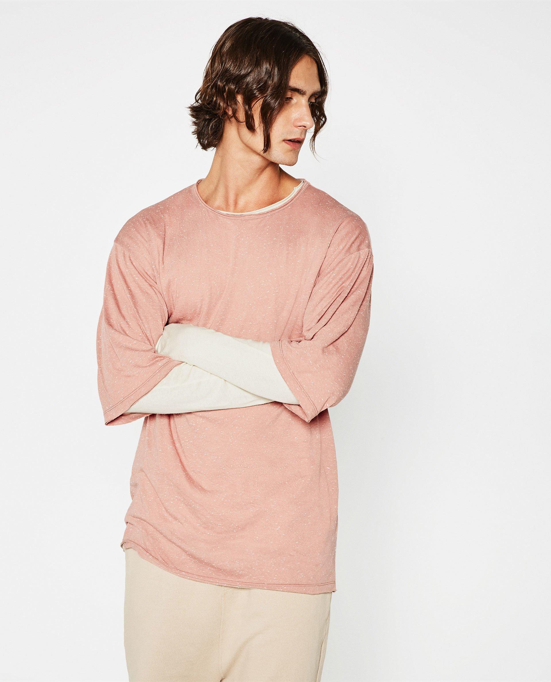 Zara Oversized T Shirt In Pink For Men Lyst