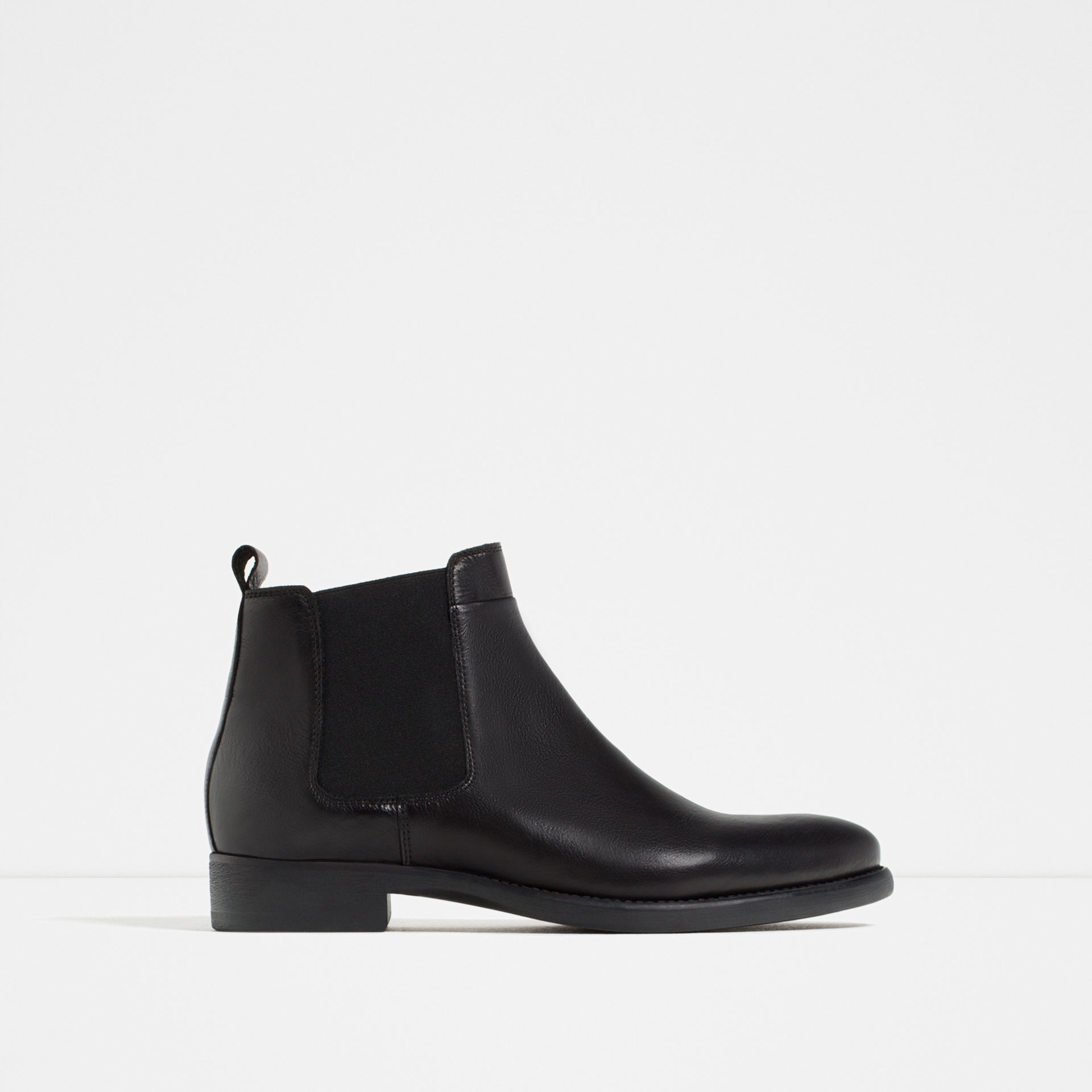 zara leather chelsea boots for lyst