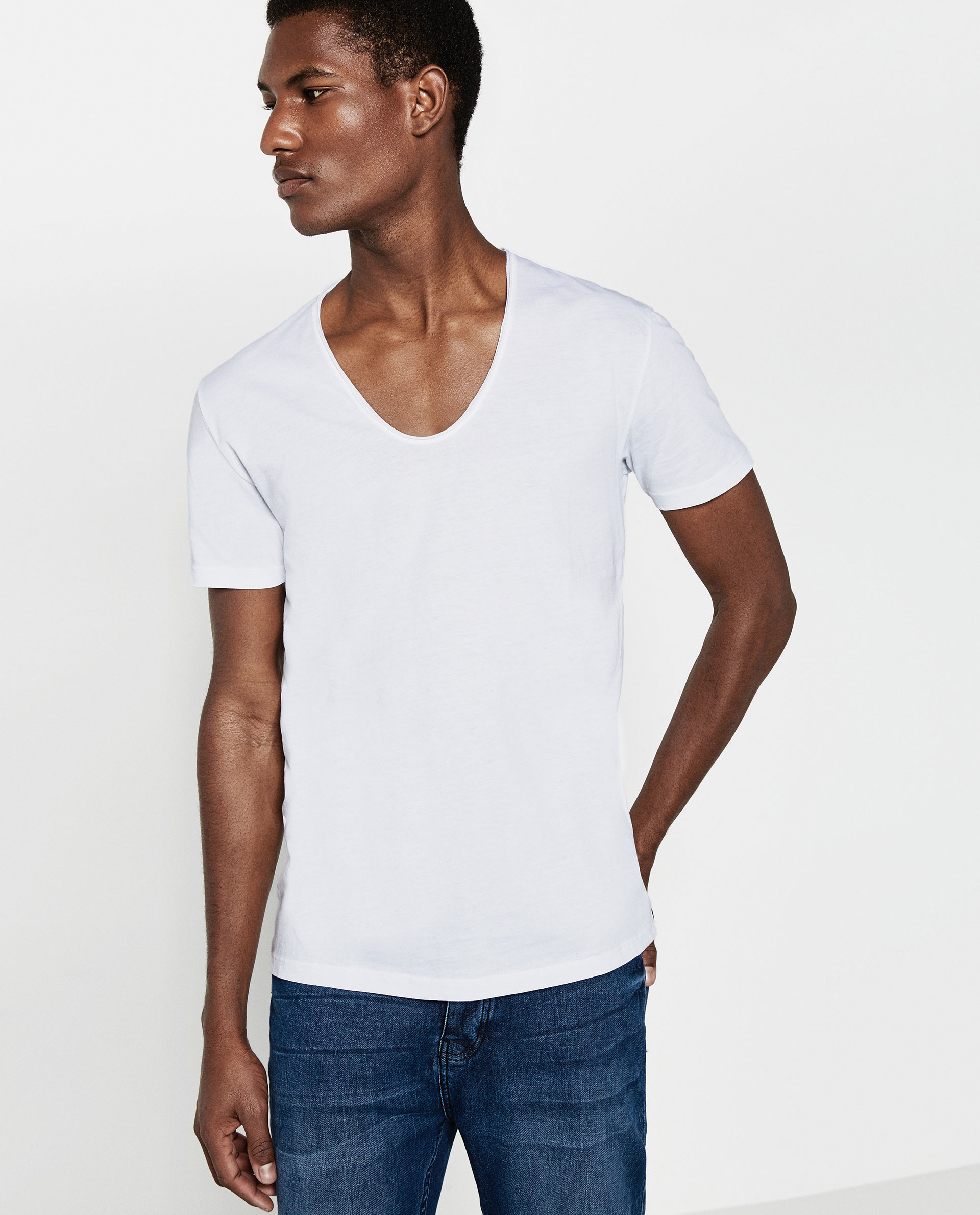 Zara v neck t shirt in white for men lyst for V neck white t shirts for men