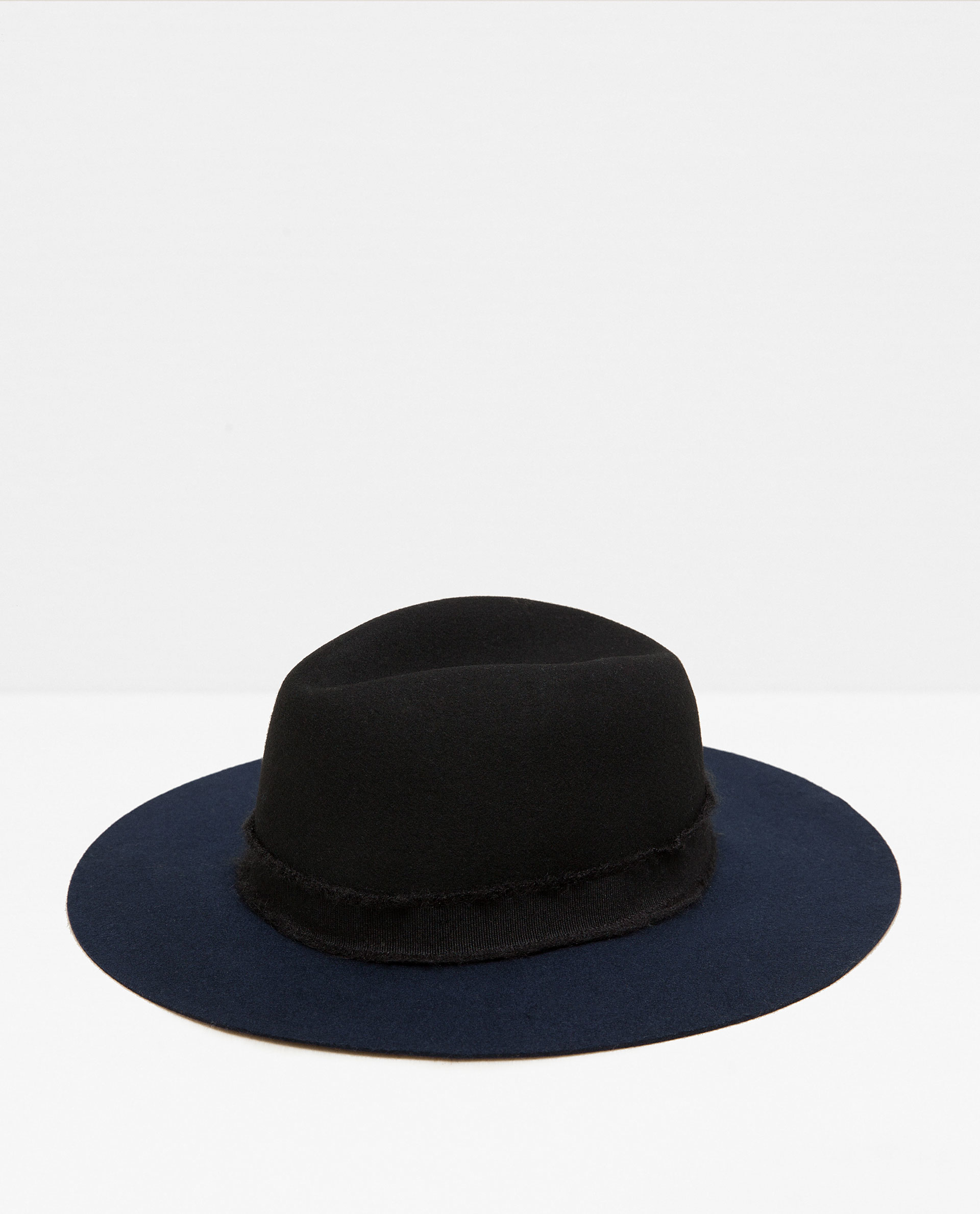 zara two tone hat with a wide ribbon in blue lyst