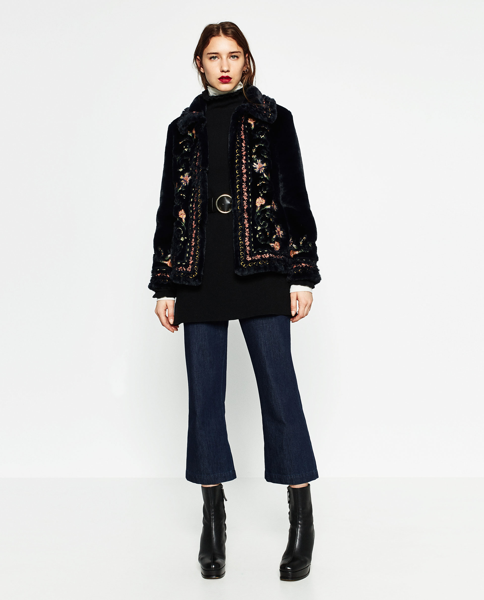 Zara embroidered faux fur jacket lyst