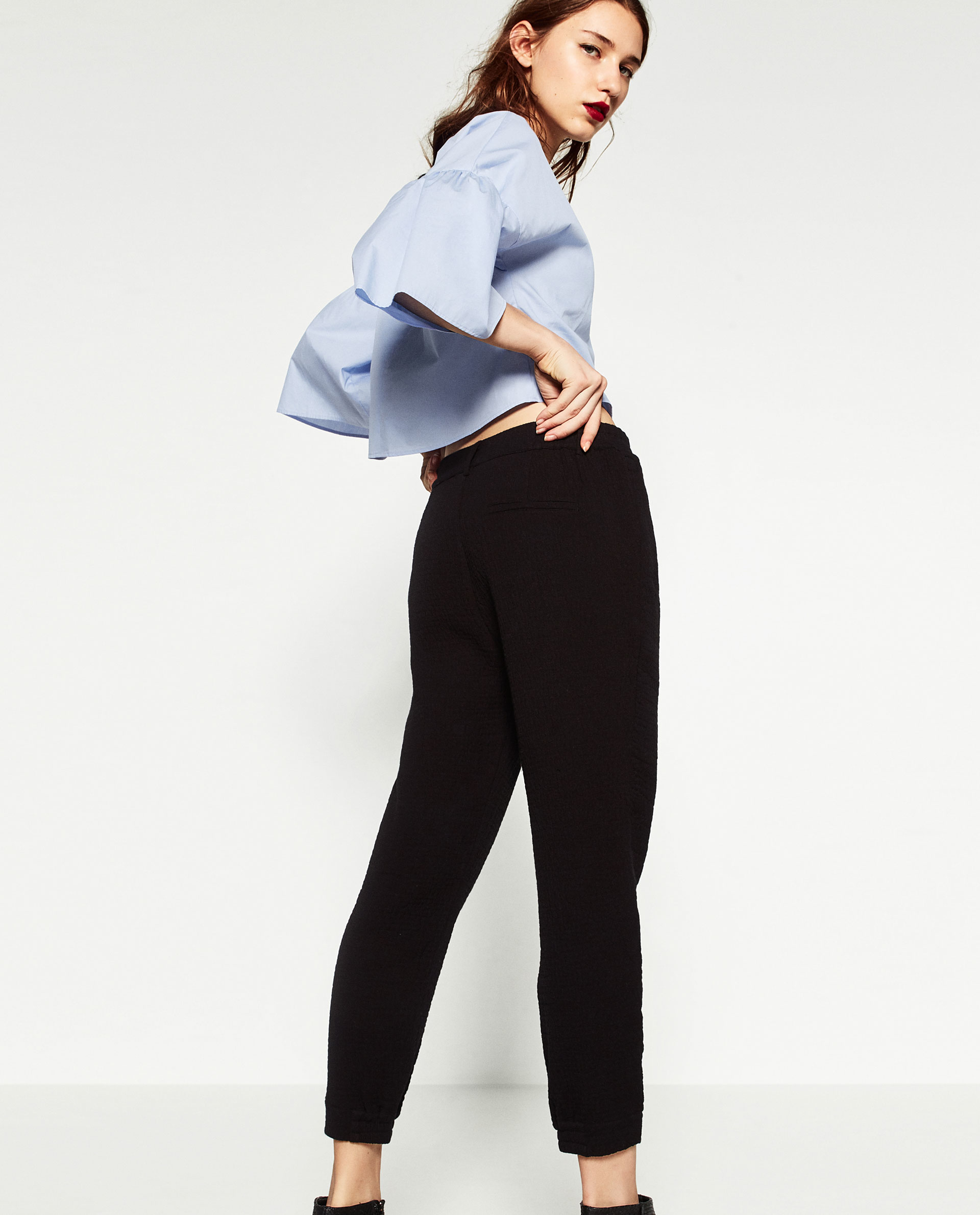 Lastest Zara Baggy Trousers In Black  Lyst