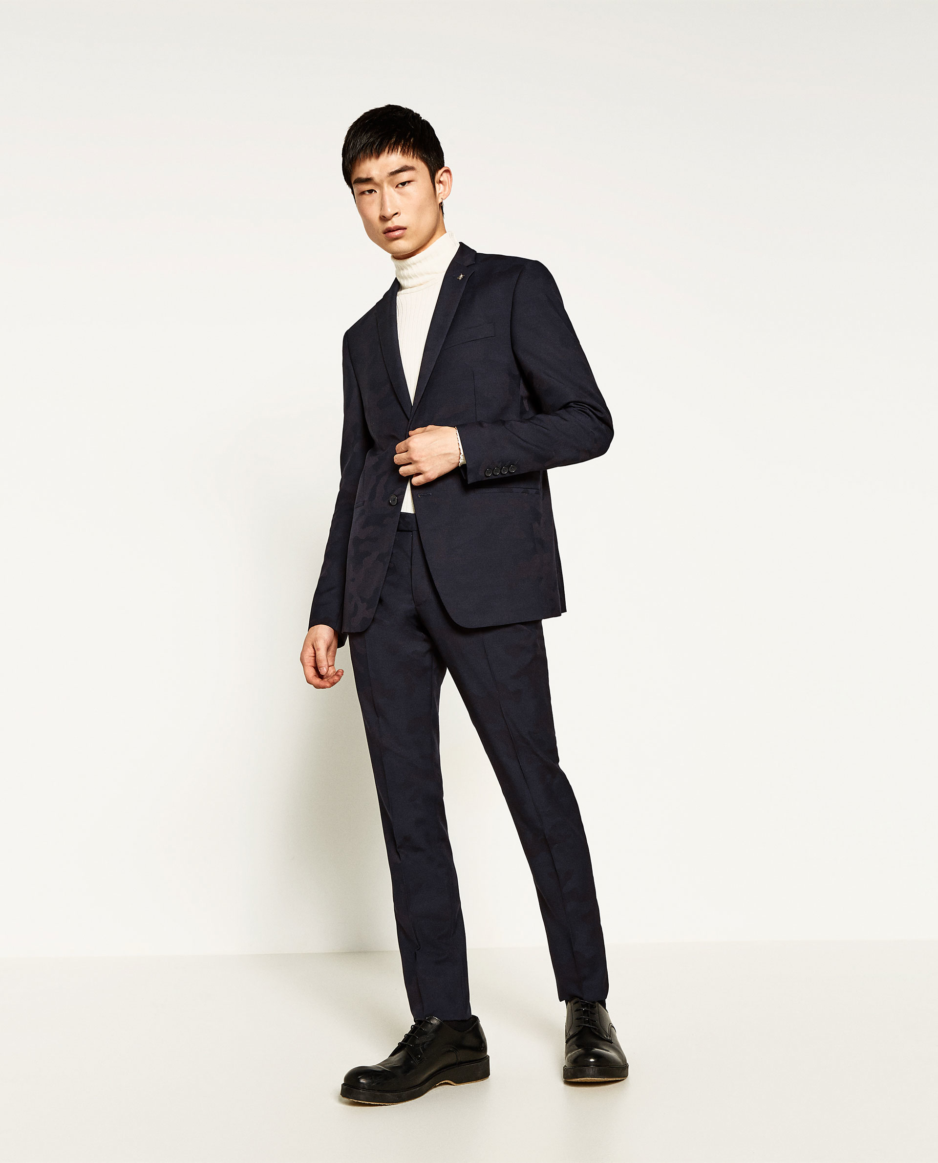 Zara Camouflage Suit Trousers In Blue For Men | Lyst