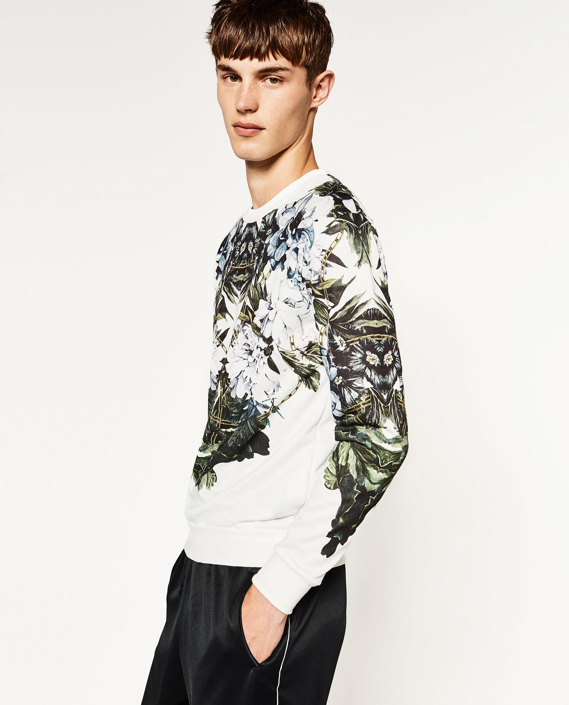 Zara floral sweatshirt for men lyst for Zara mens floral shirt