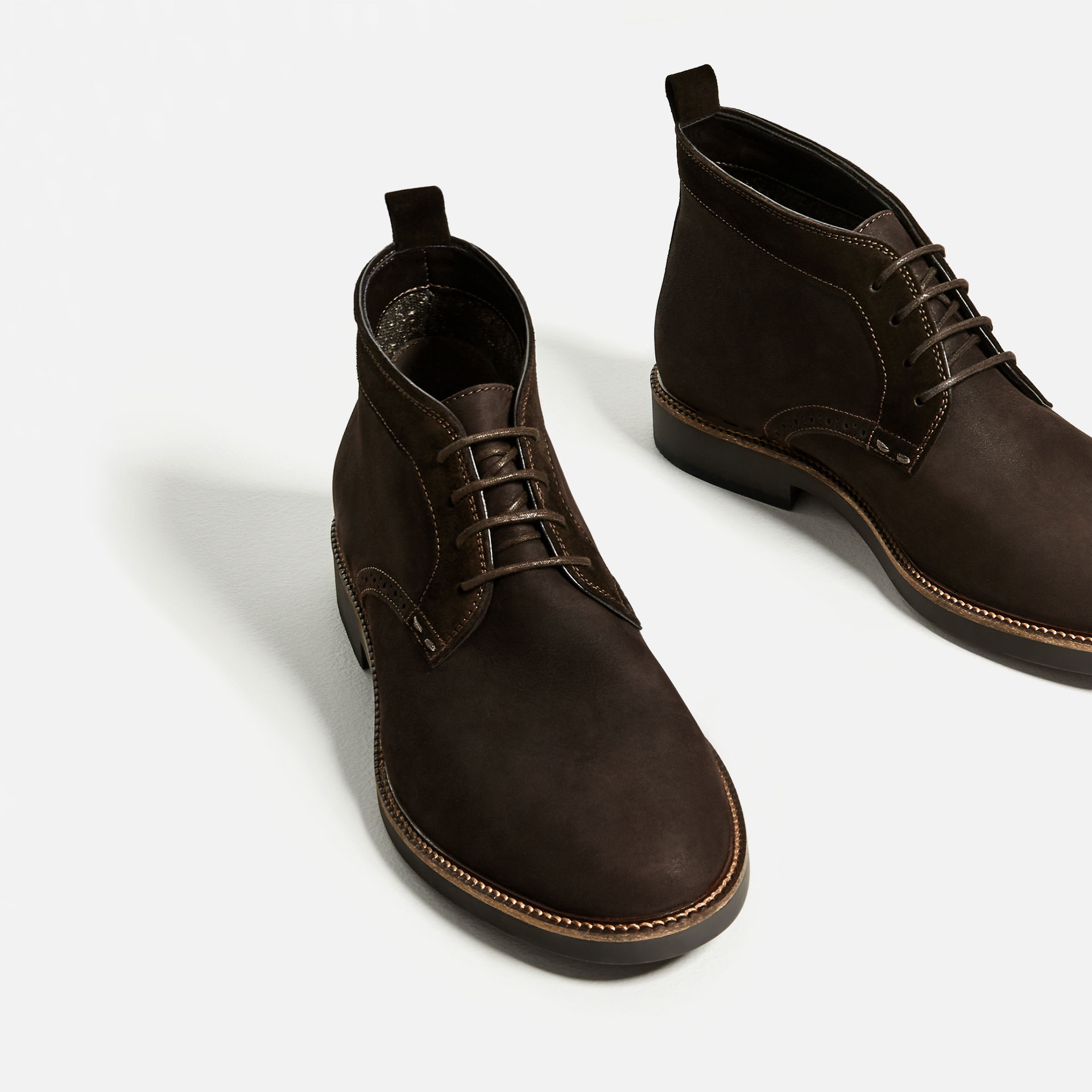 zara brown leather desert boots in multicolor for lyst