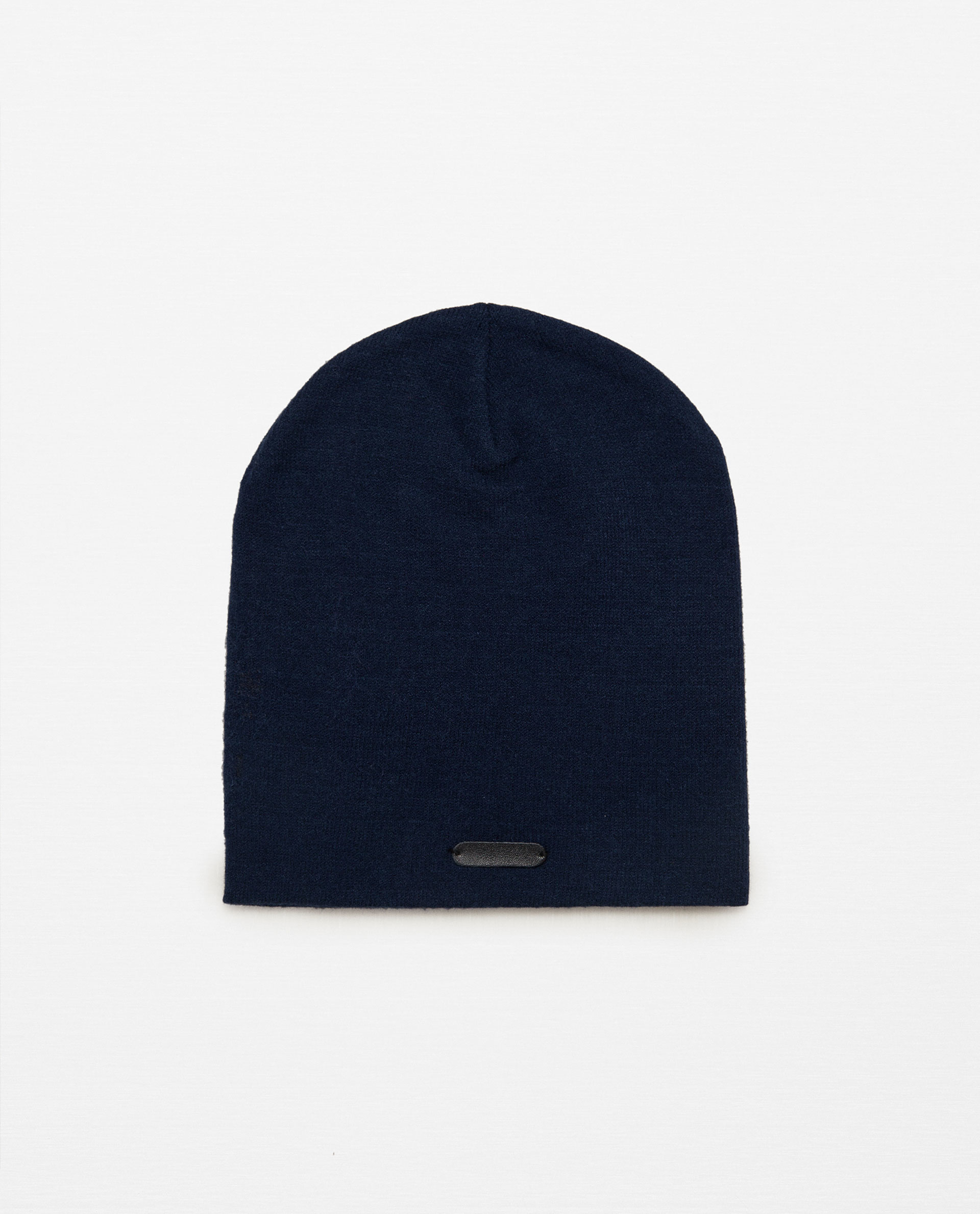 zara beanie style hat with leather detail in blue lyst