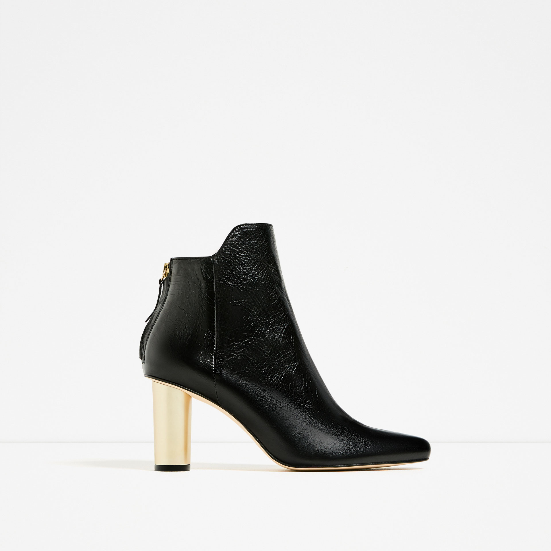 Zara Laminated High Heel Leather Ankle Boots Lyst
