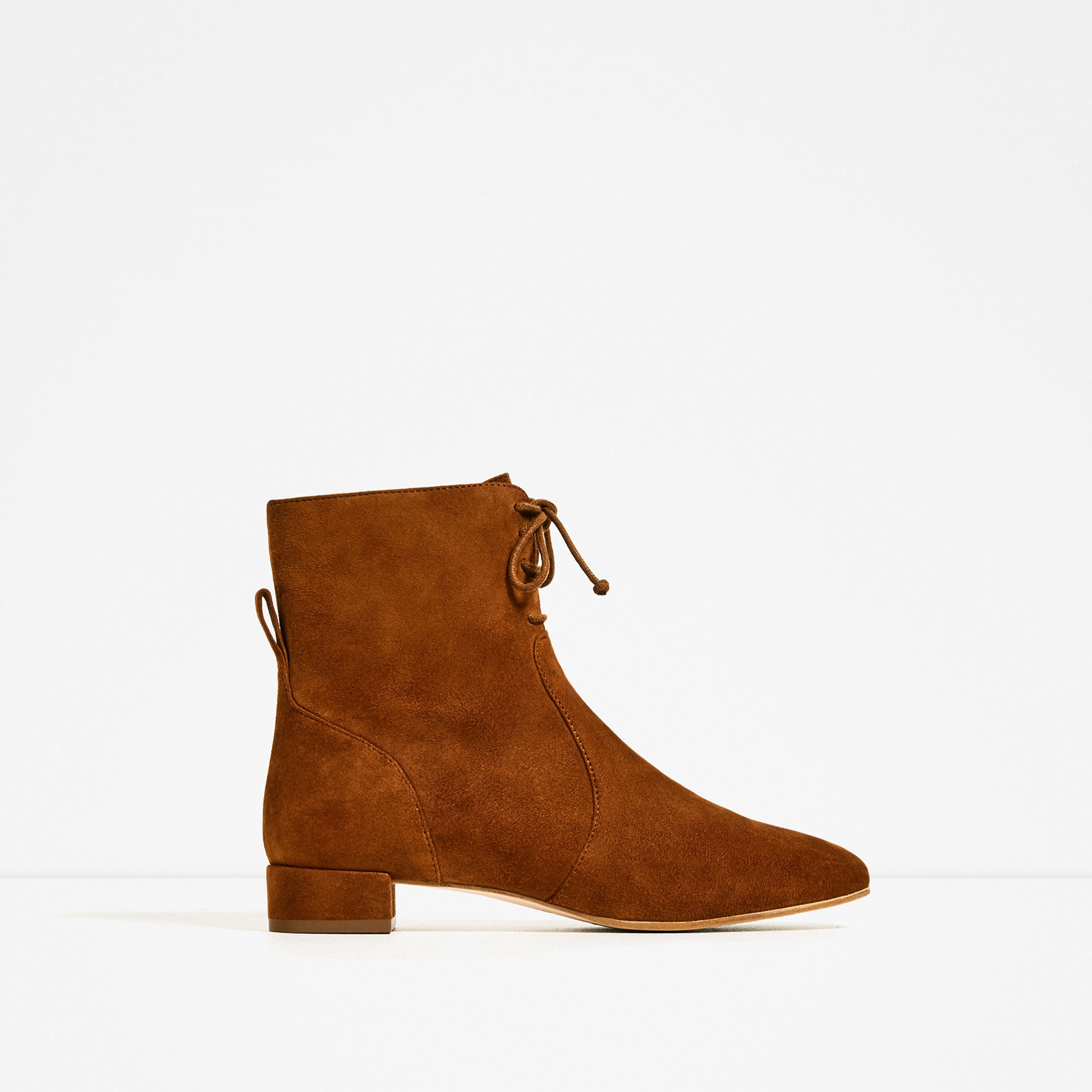 zara flat leather tie up ankle boots lyst