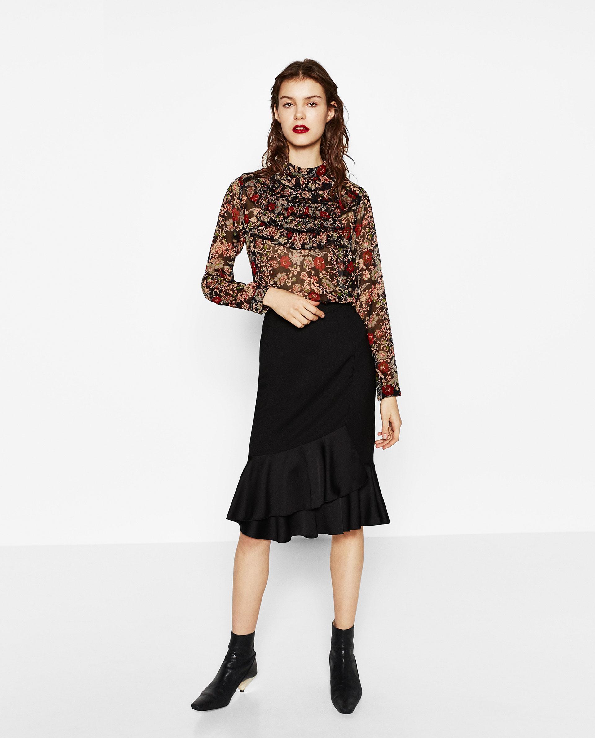 Zara Blouse With Transparent Frills 62