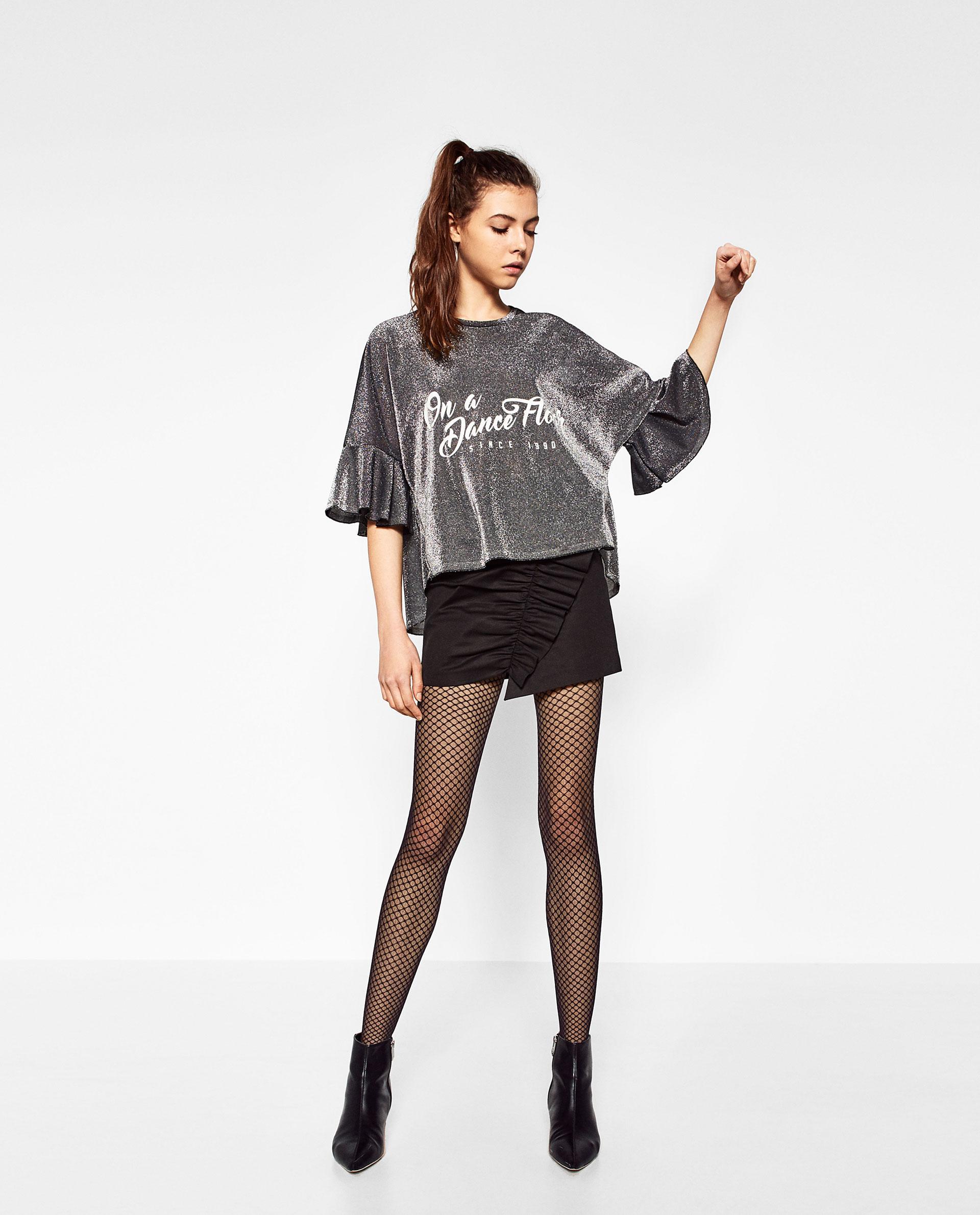 Zara frilled shiny t shirt in black lyst for Zara black t shirt dress