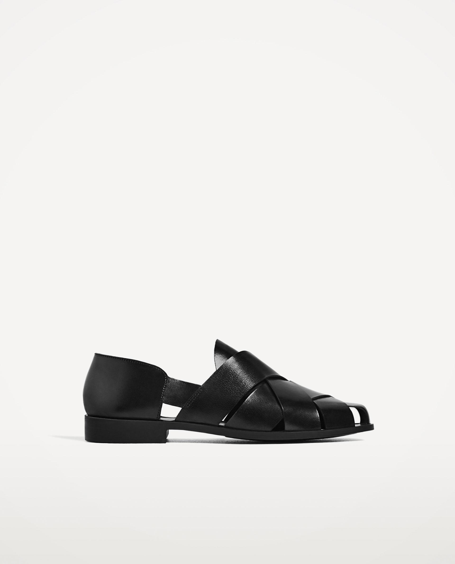 zara open black leather shoes with straps in black lyst